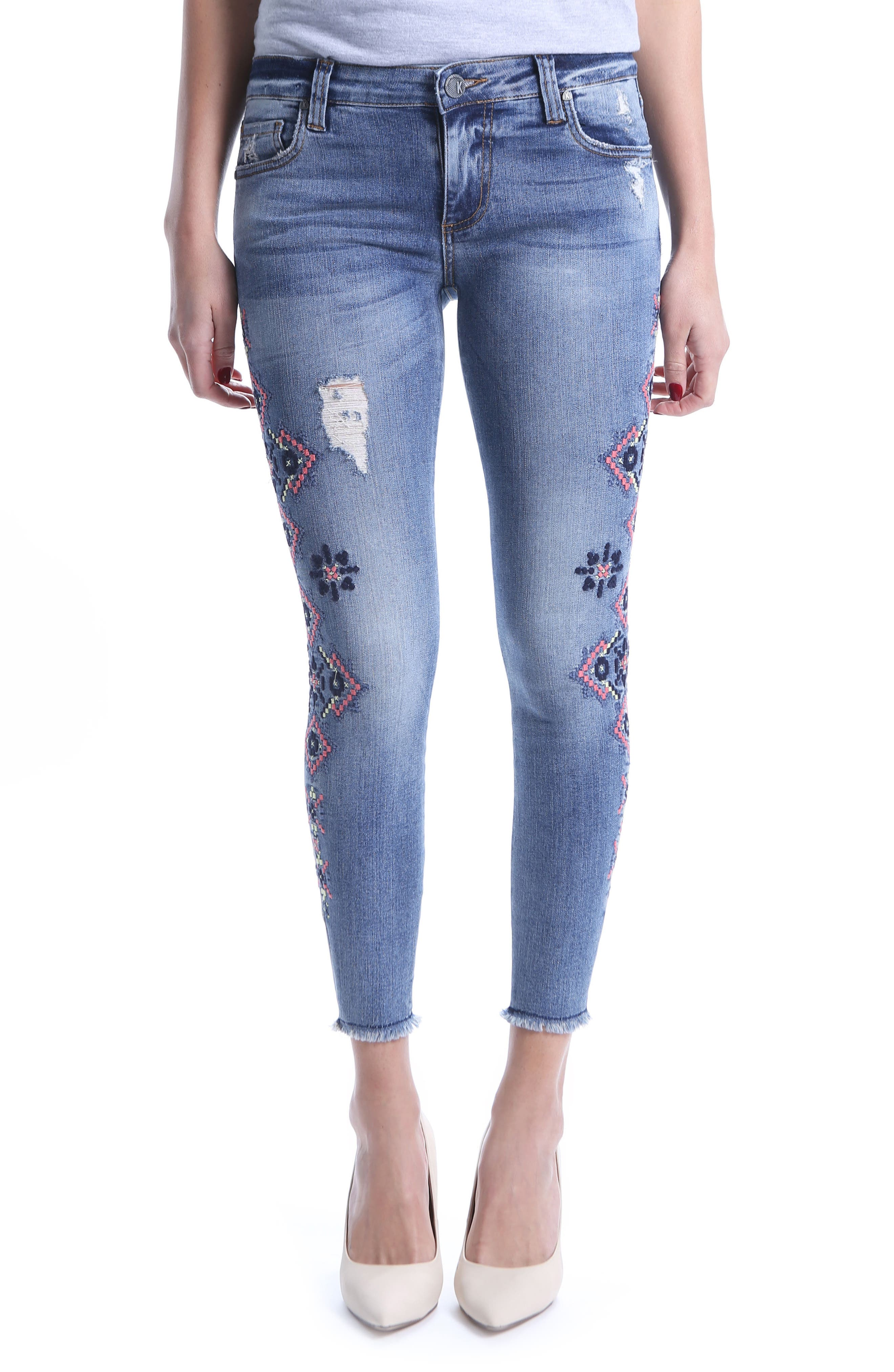Connie Skinny Embroidered Ankle Jeans,                             Main thumbnail 1, color,                             Input