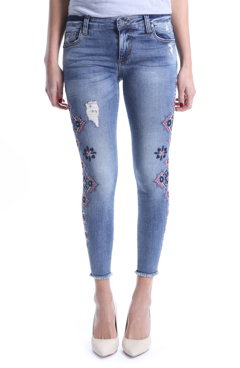 Connie Skinny Embroidered Ankle Jeans