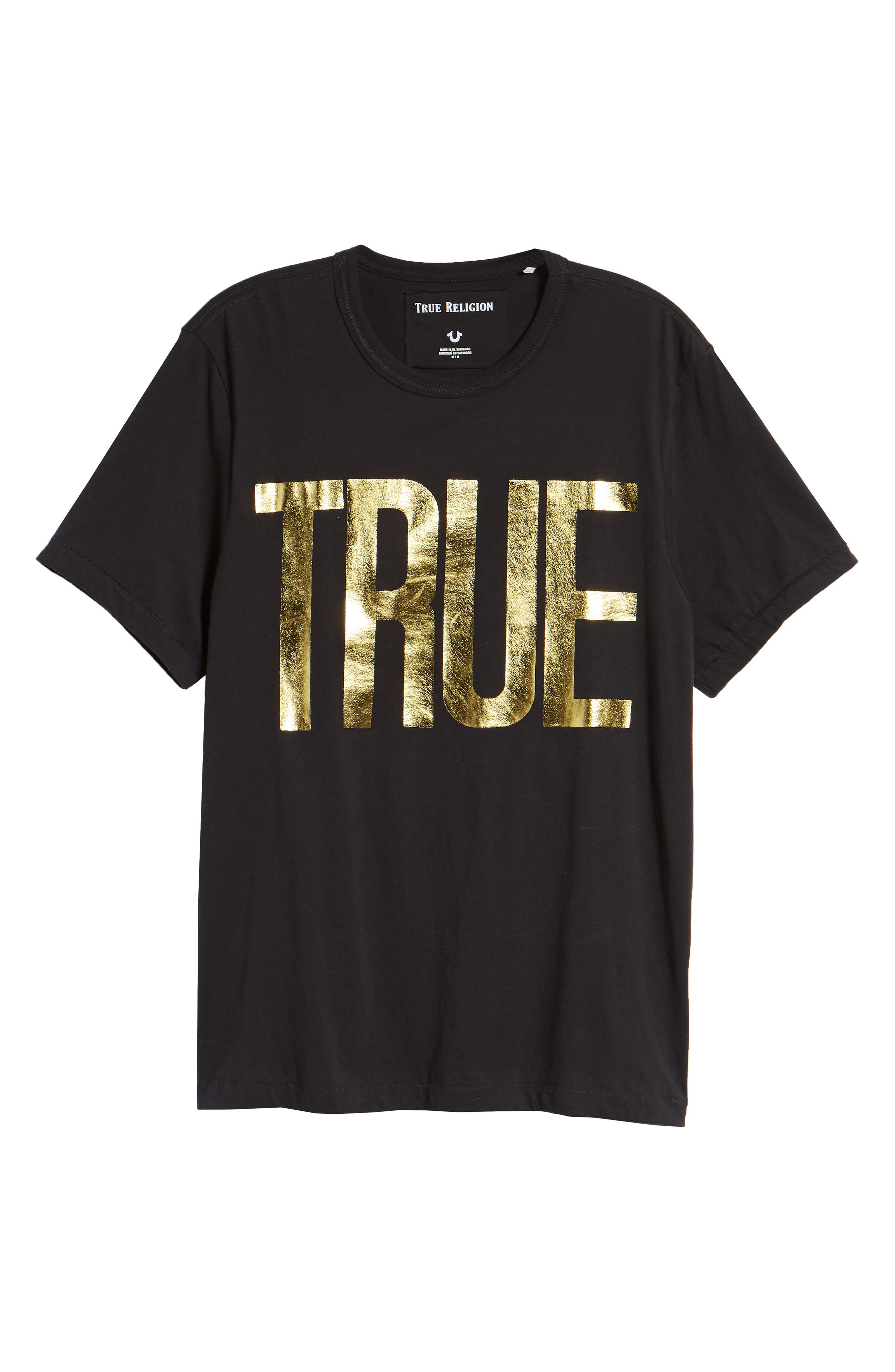 Gold Foil Logo T-Shirt,                             Alternate thumbnail 6, color,                             True Black