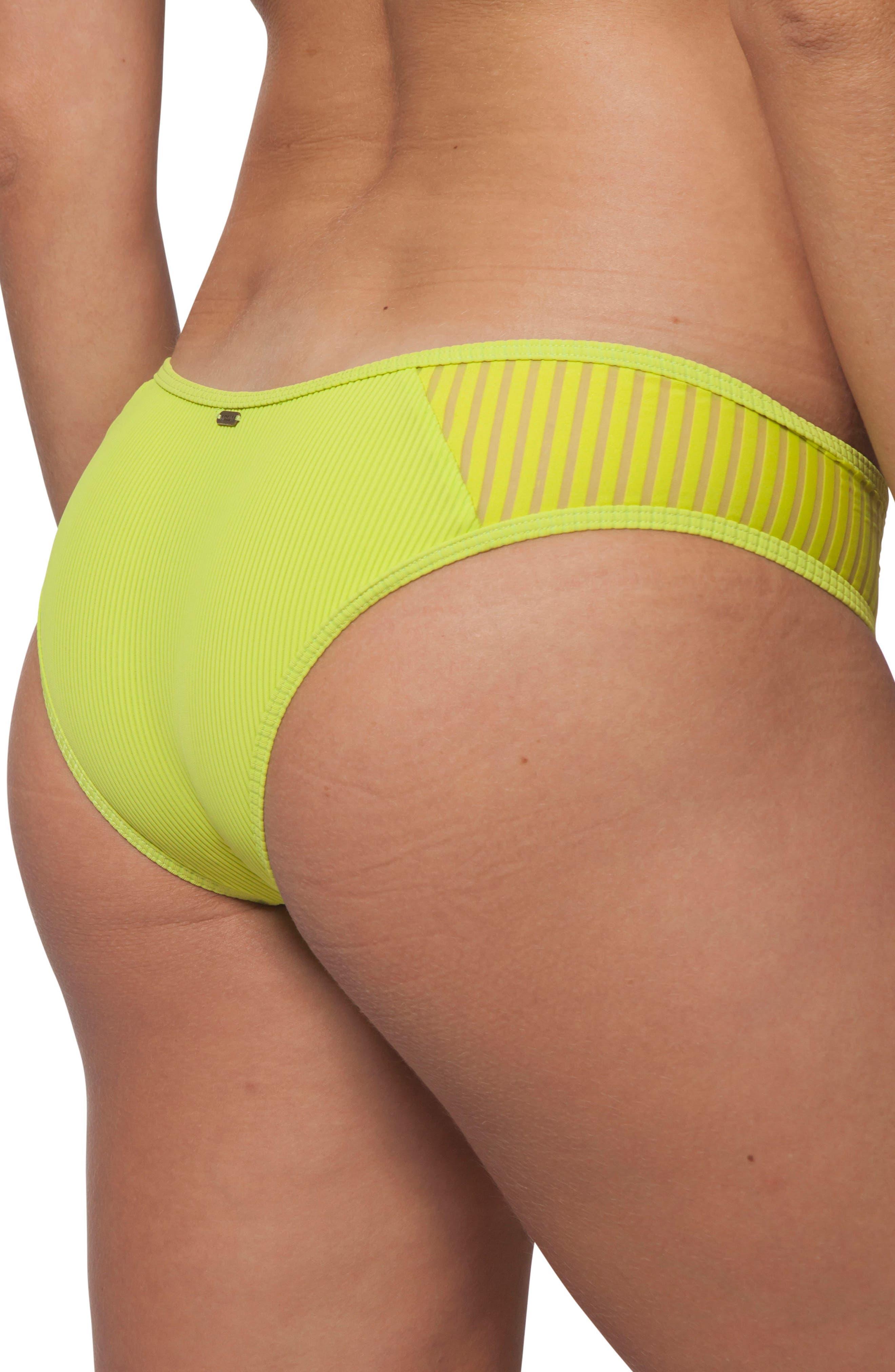 Designer Surf Hipster Bikini Bottoms,                             Alternate thumbnail 3, color,                             Neon Lime