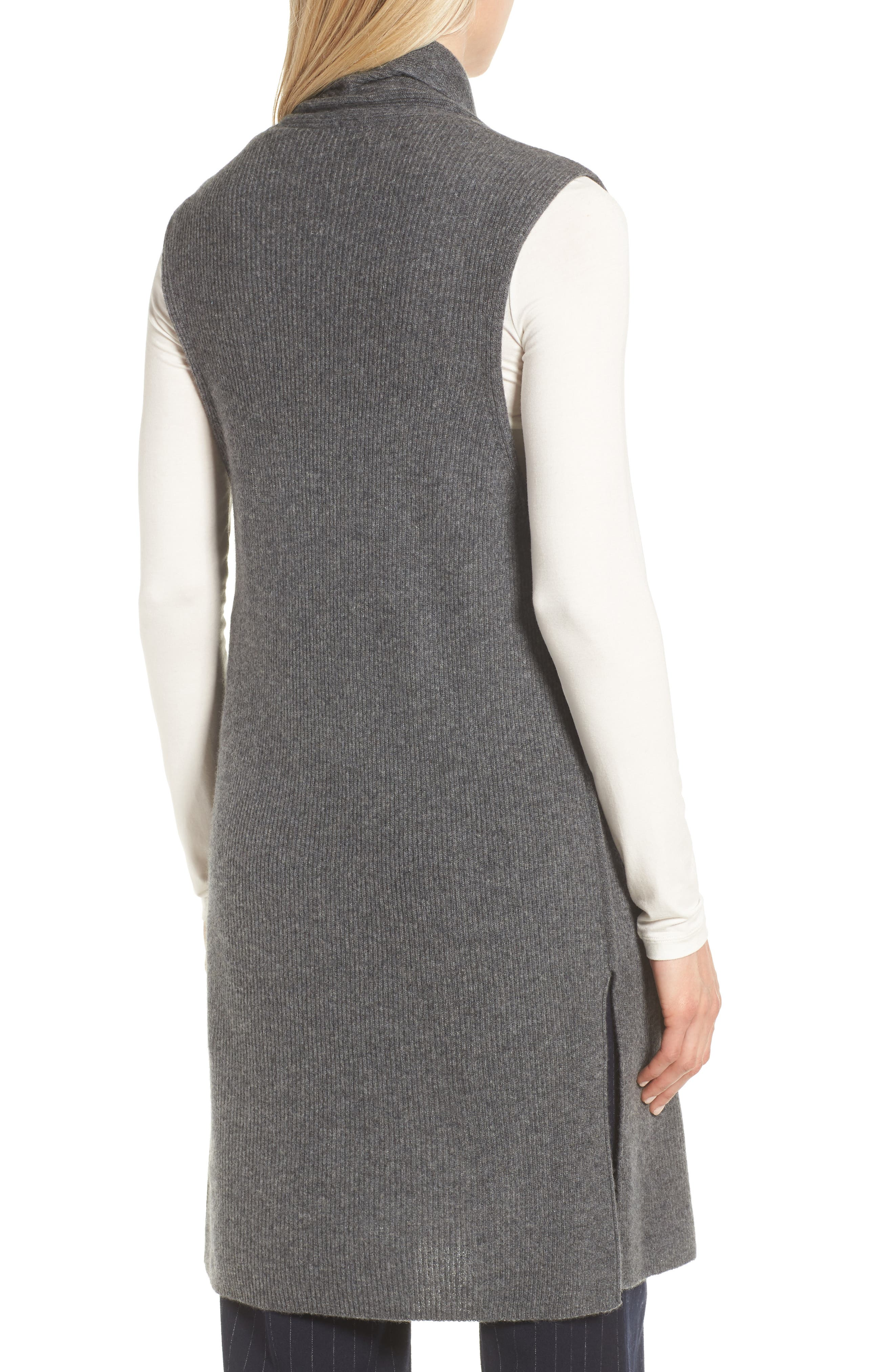 Ribbed Cashmere Vest,                             Alternate thumbnail 2, color,                             Grey Dark Heather