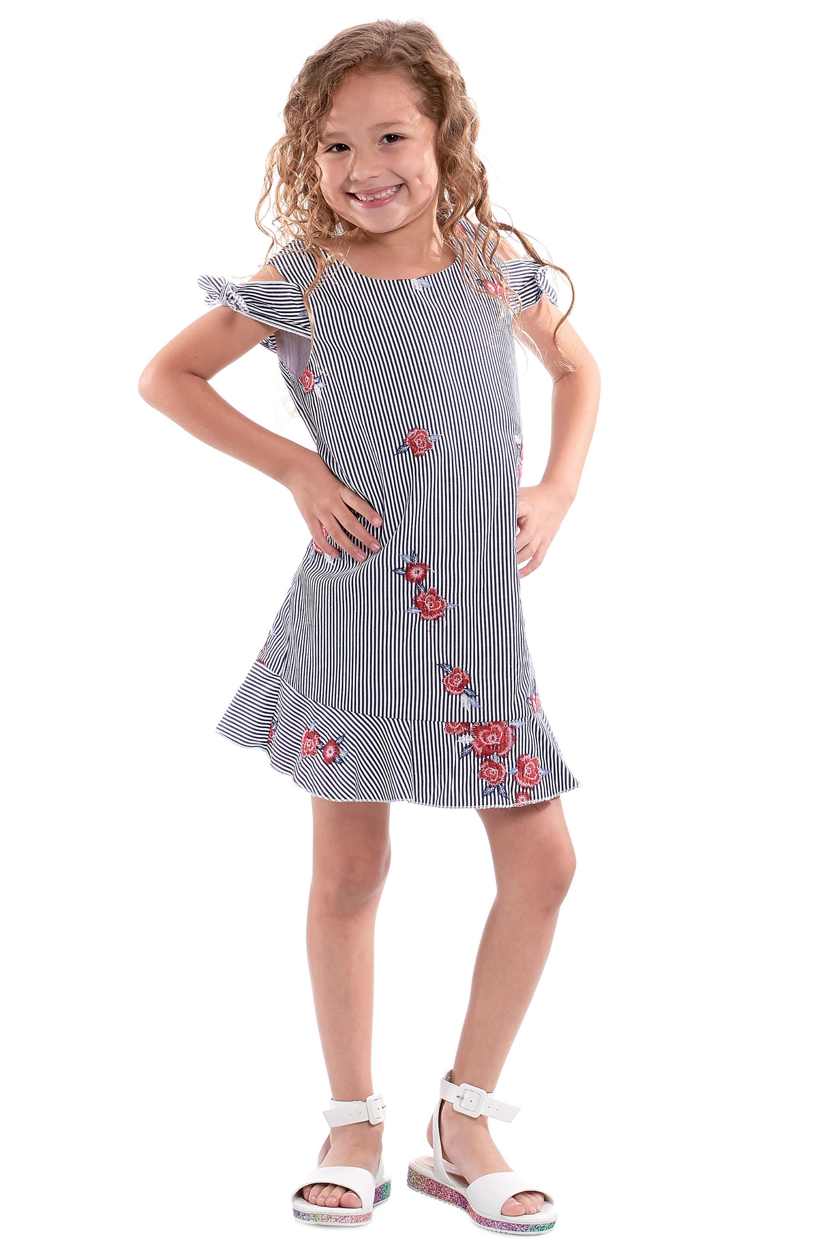 Embroidered Stripe Dress,                             Alternate thumbnail 4, color,                             Navy Multi