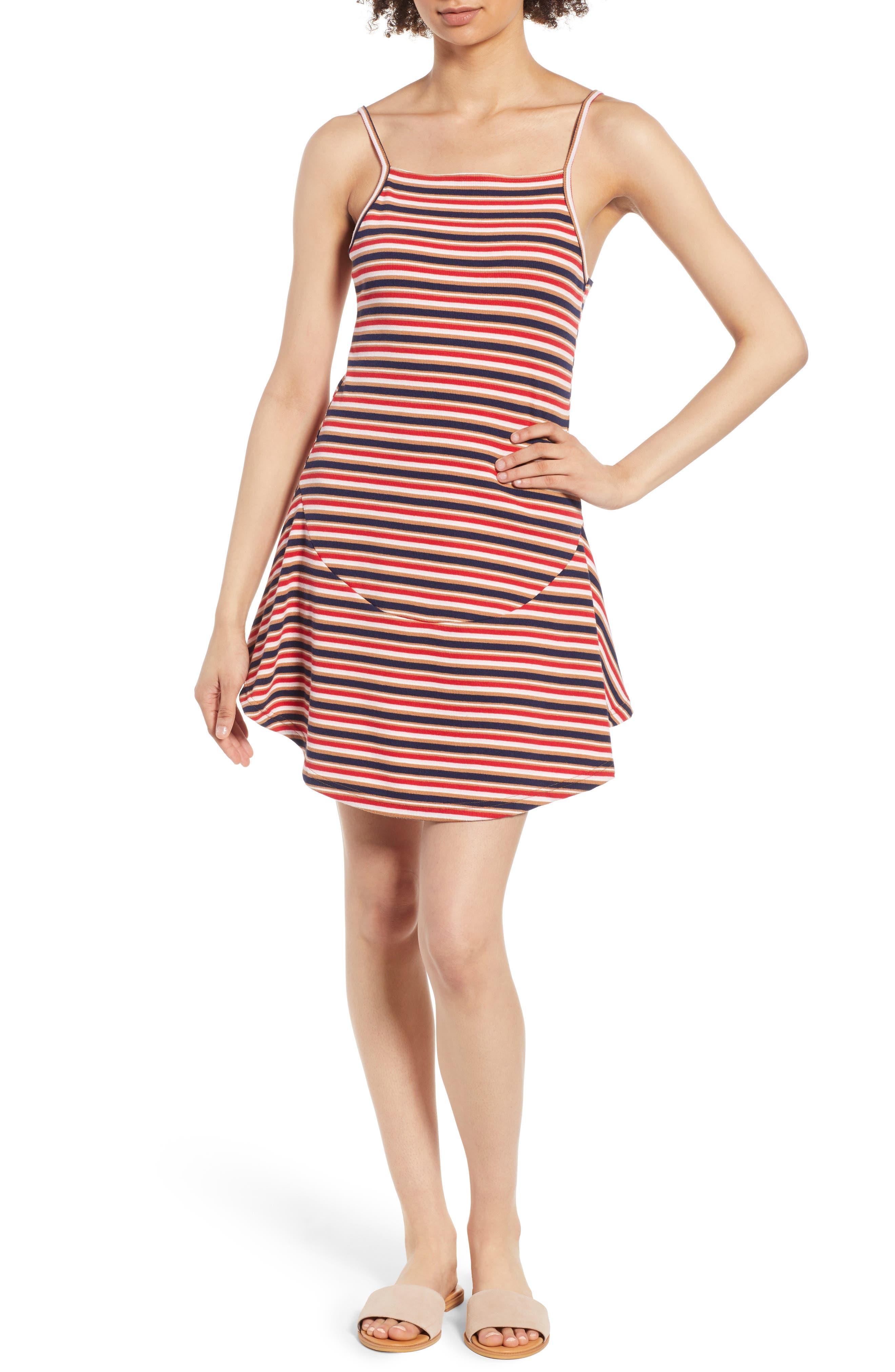 Parad Stripe Rib Knit Dress,                         Main,                         color, Multi