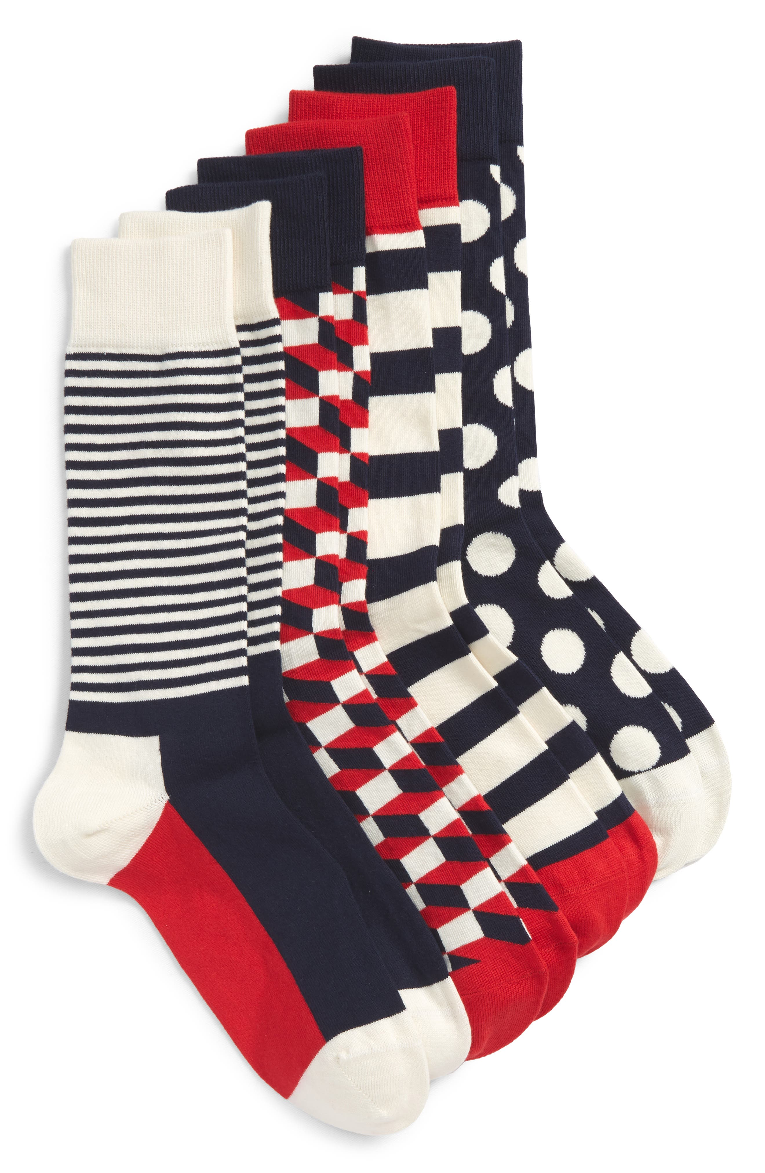 4-Pack Sock Gift Set,                         Main,                         color, Navy/ Red/ White