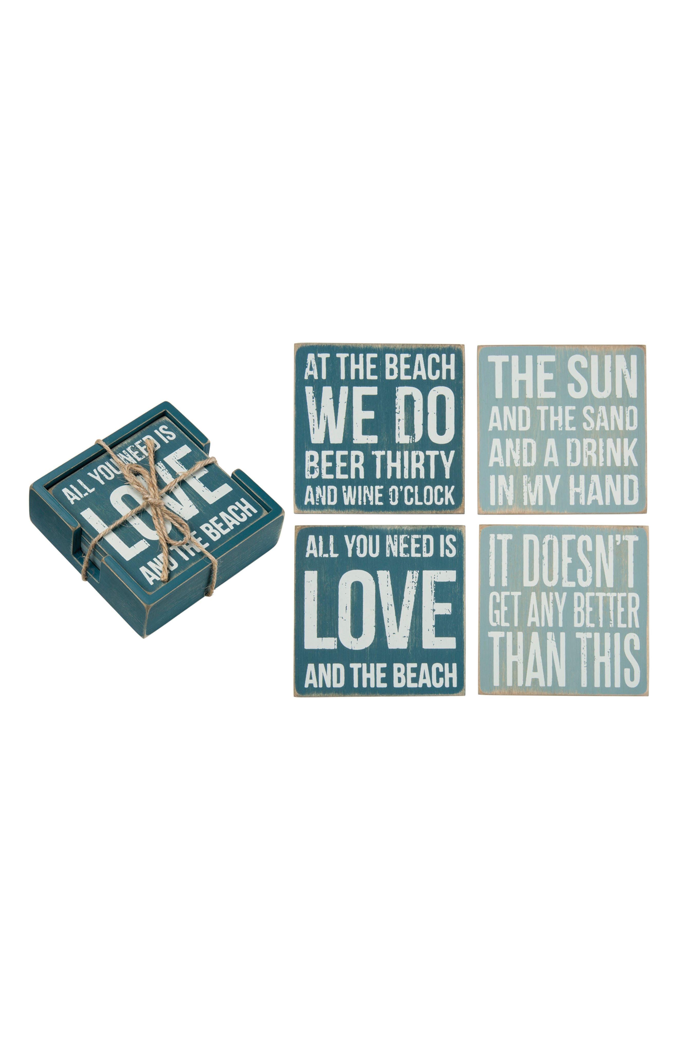Beach Set of 4 Coasters,                             Main thumbnail 1, color,                             Blue