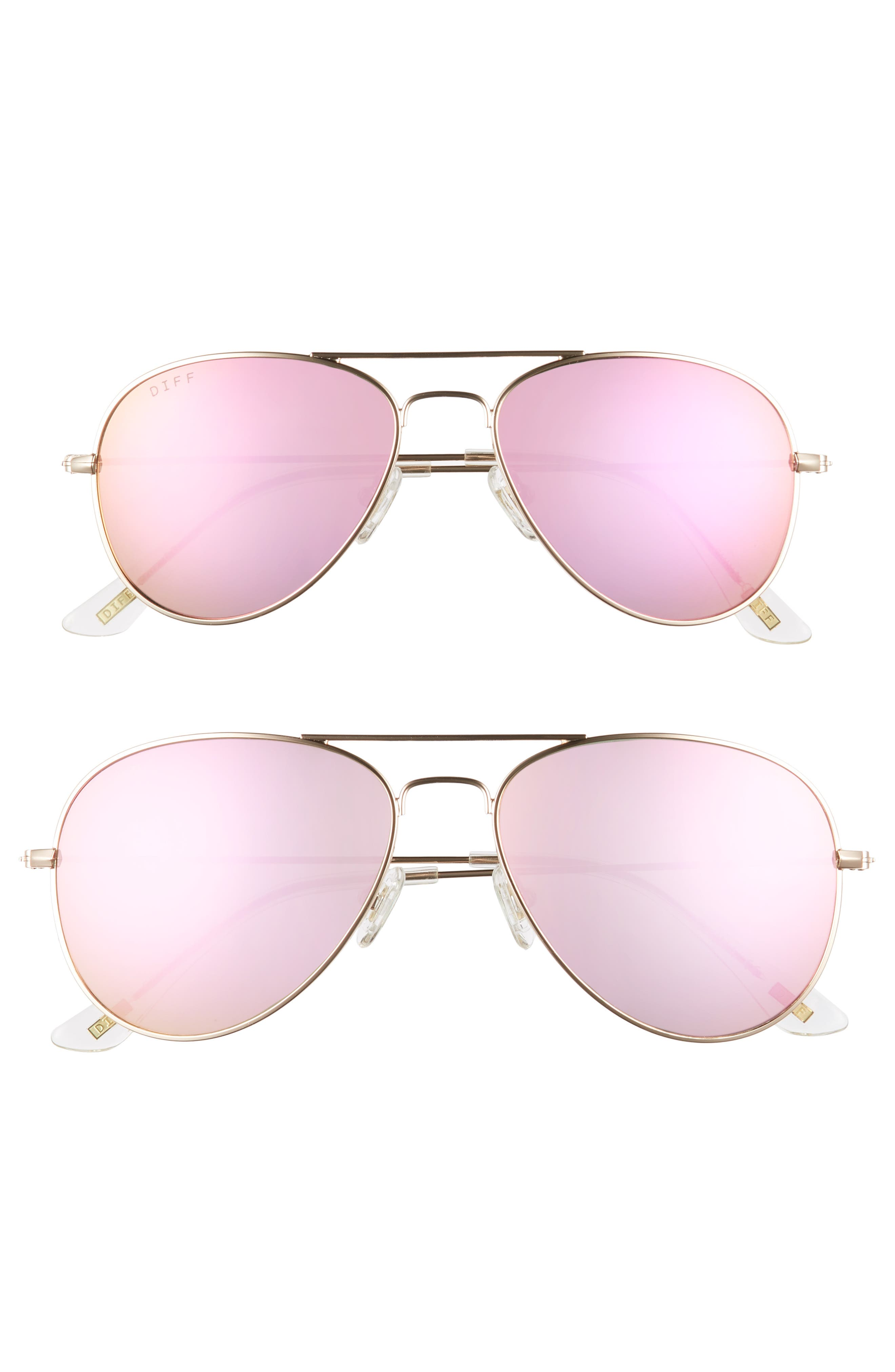 Mommy & Me Cruz 2-Pack Aviator Sunglasses,                             Main thumbnail 1, color,                             Gold/ Pink