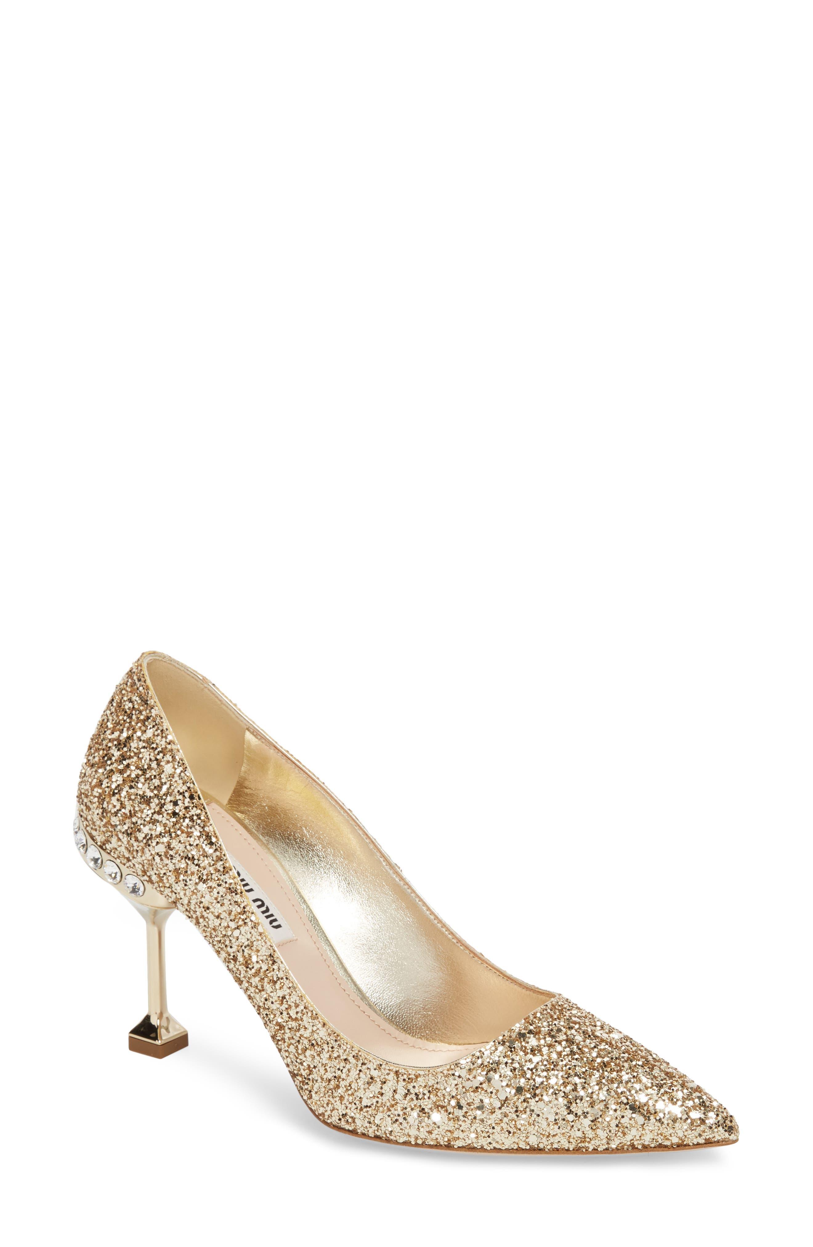 Miu Miu Jeweled Heel Glitter Pump (Women)