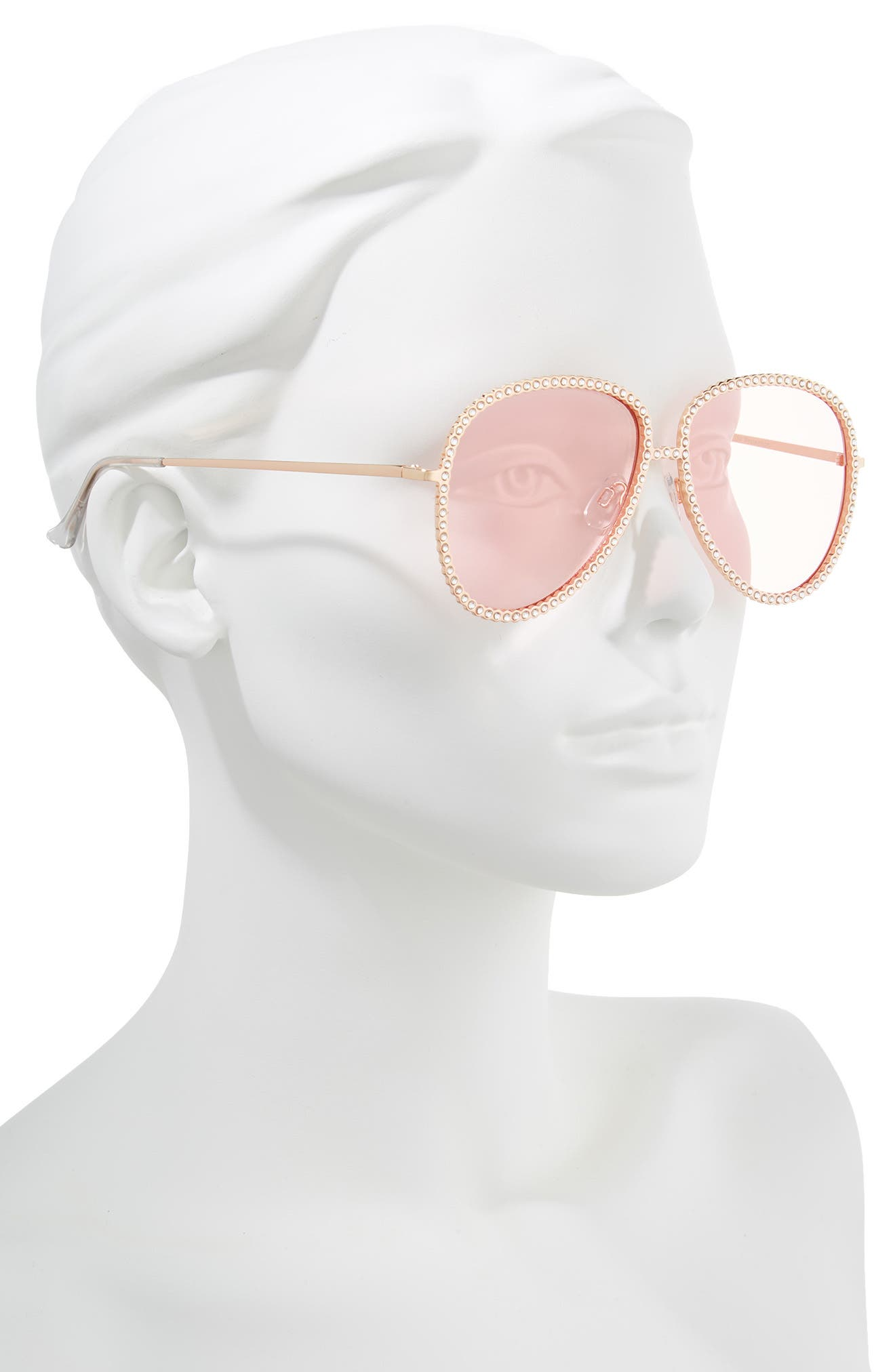 58mm Crystal Aviator Sunglasses,                             Alternate thumbnail 2, color,                             Rose Gold/ Pink