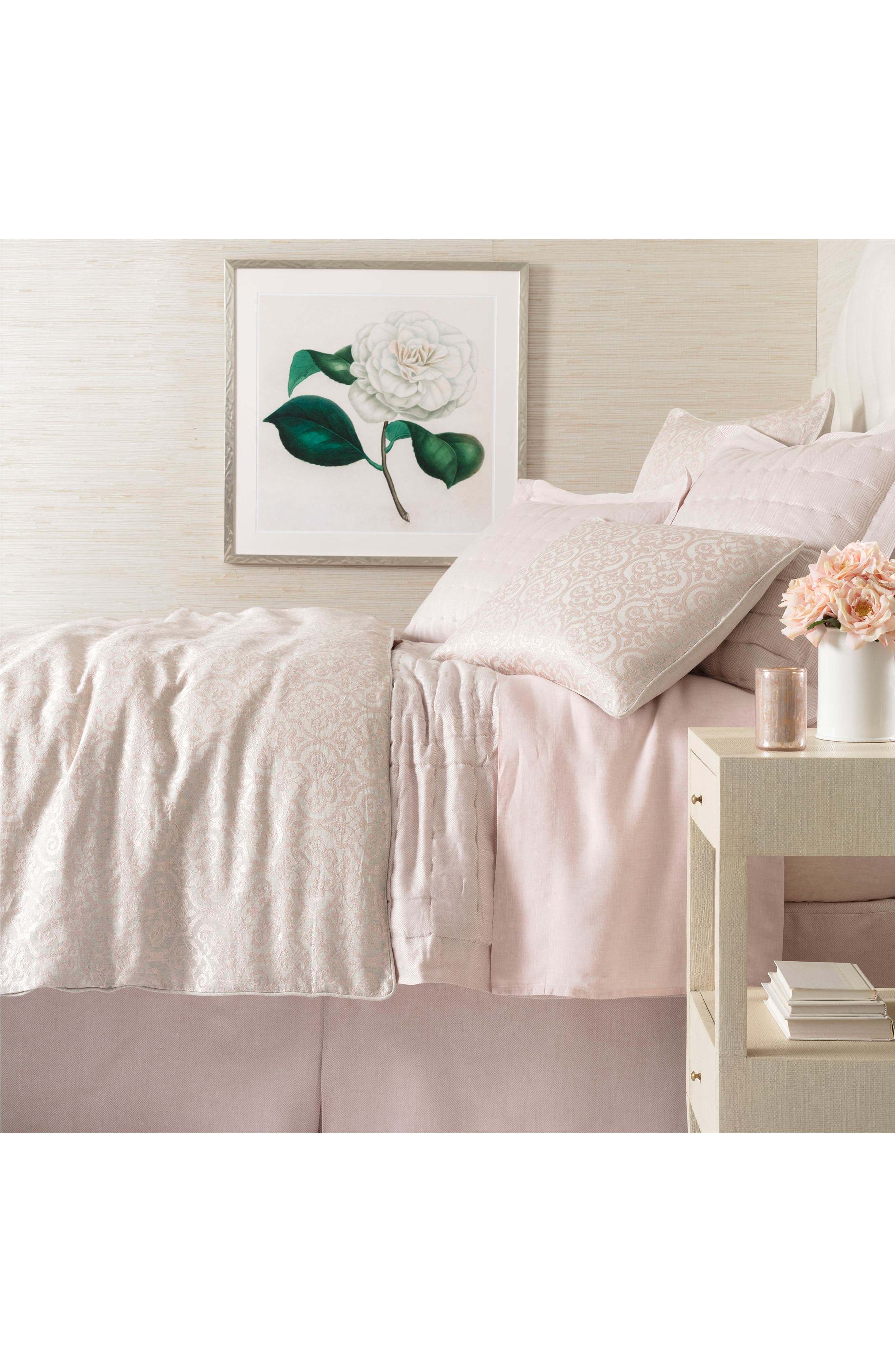 Gwendolyn Embroidered Duvet Cover,                             Main thumbnail 1, color,                             Pink