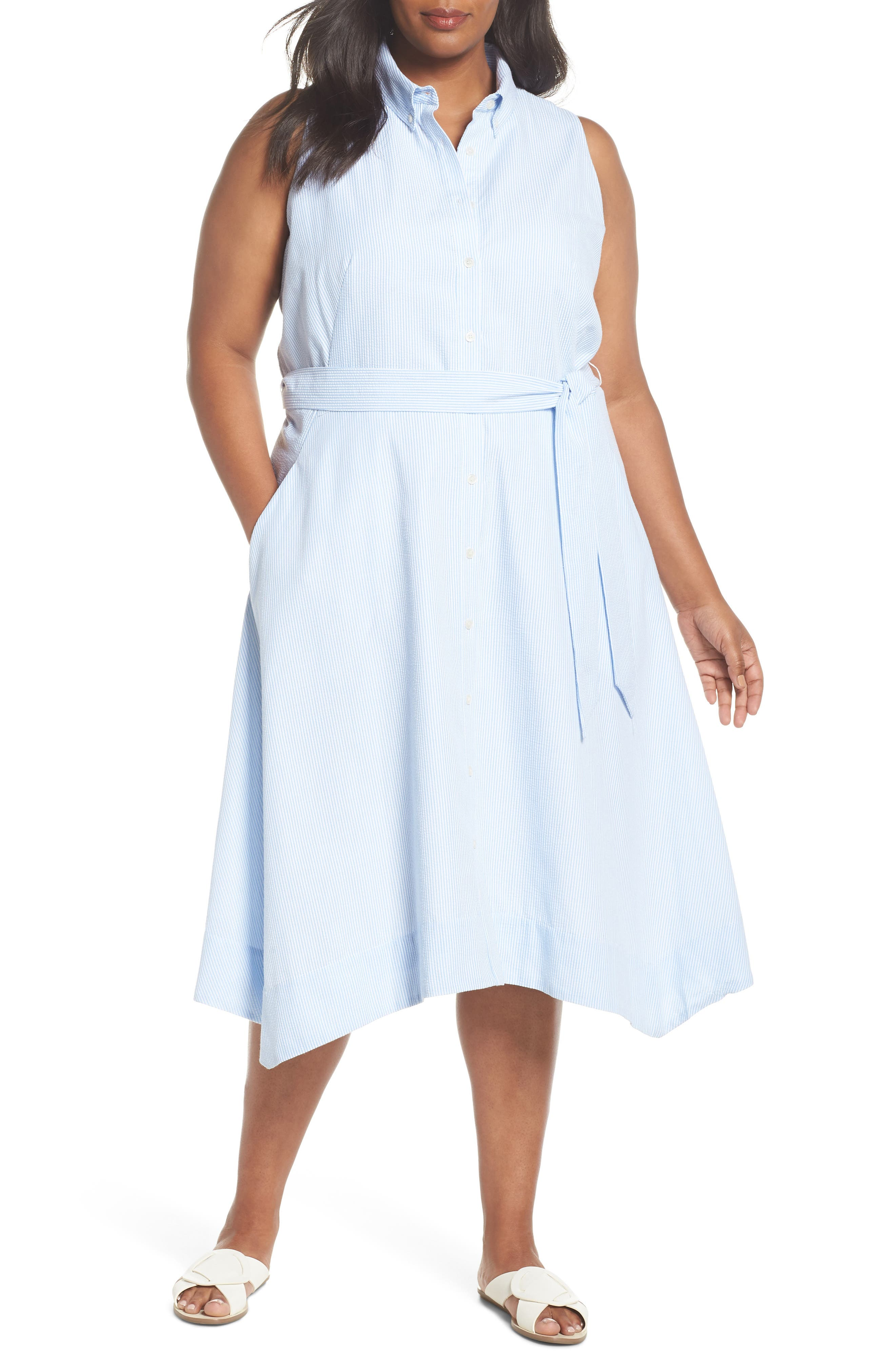 Sleeveless Stripe Seersucker Shirtdress,                         Main,                         color, Blue/ White