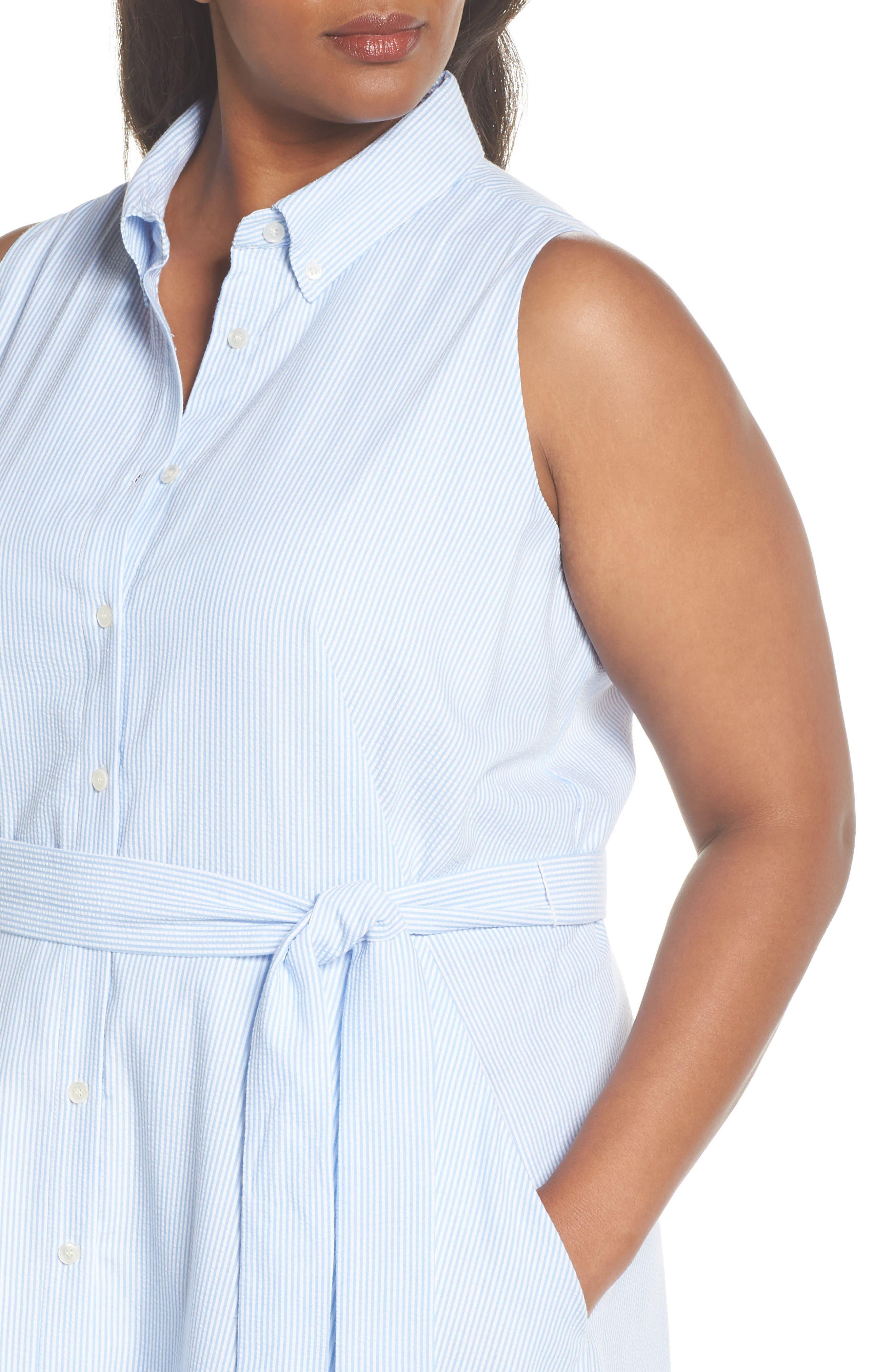 Sleeveless Stripe Seersucker Shirtdress,                             Alternate thumbnail 4, color,                             Blue/ White