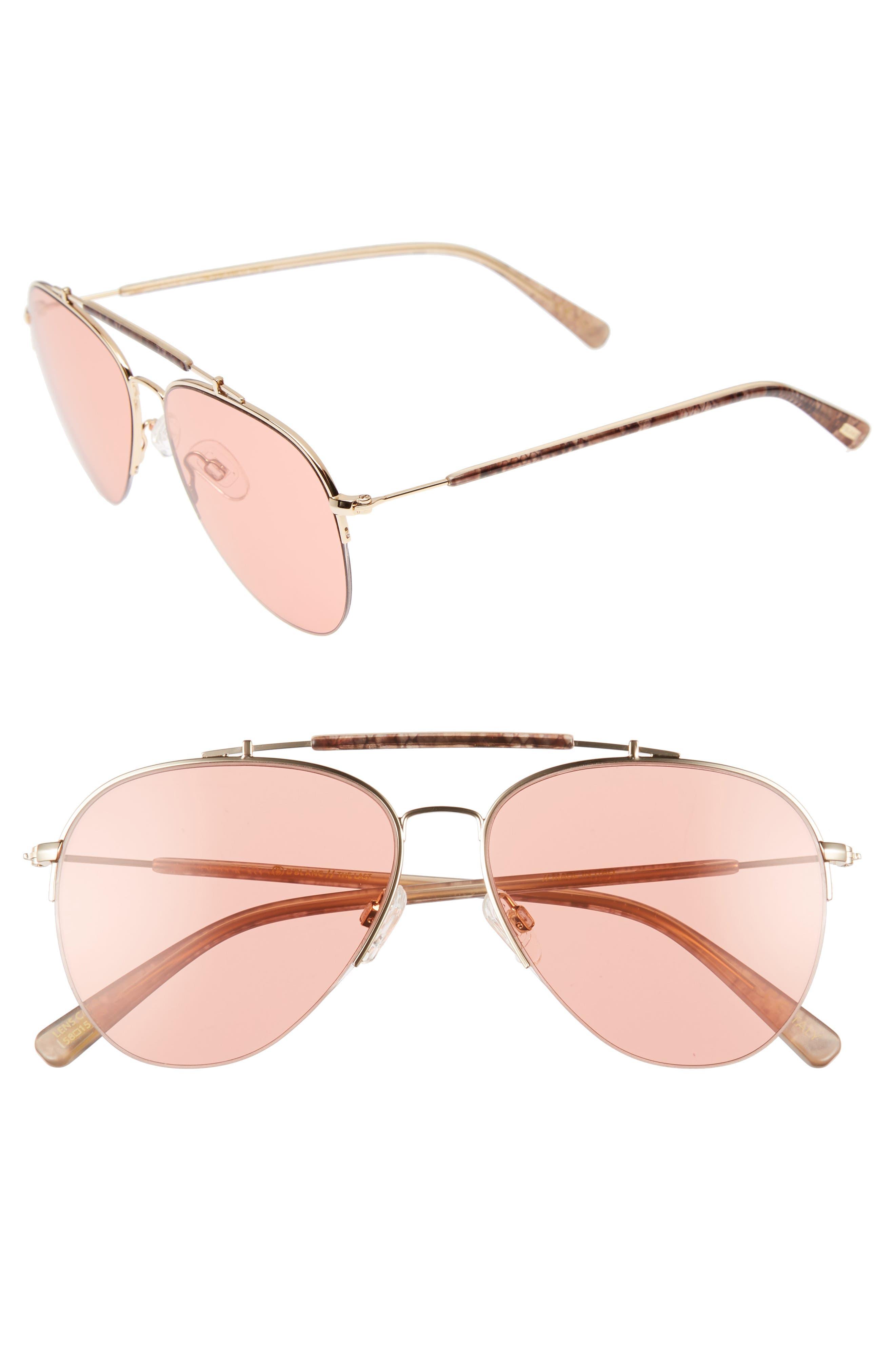 D'BLANC x Amuse Society The Last 58mm Aviator Sunglasses,                         Main,                         color, Rattlesnake/ Persimmon