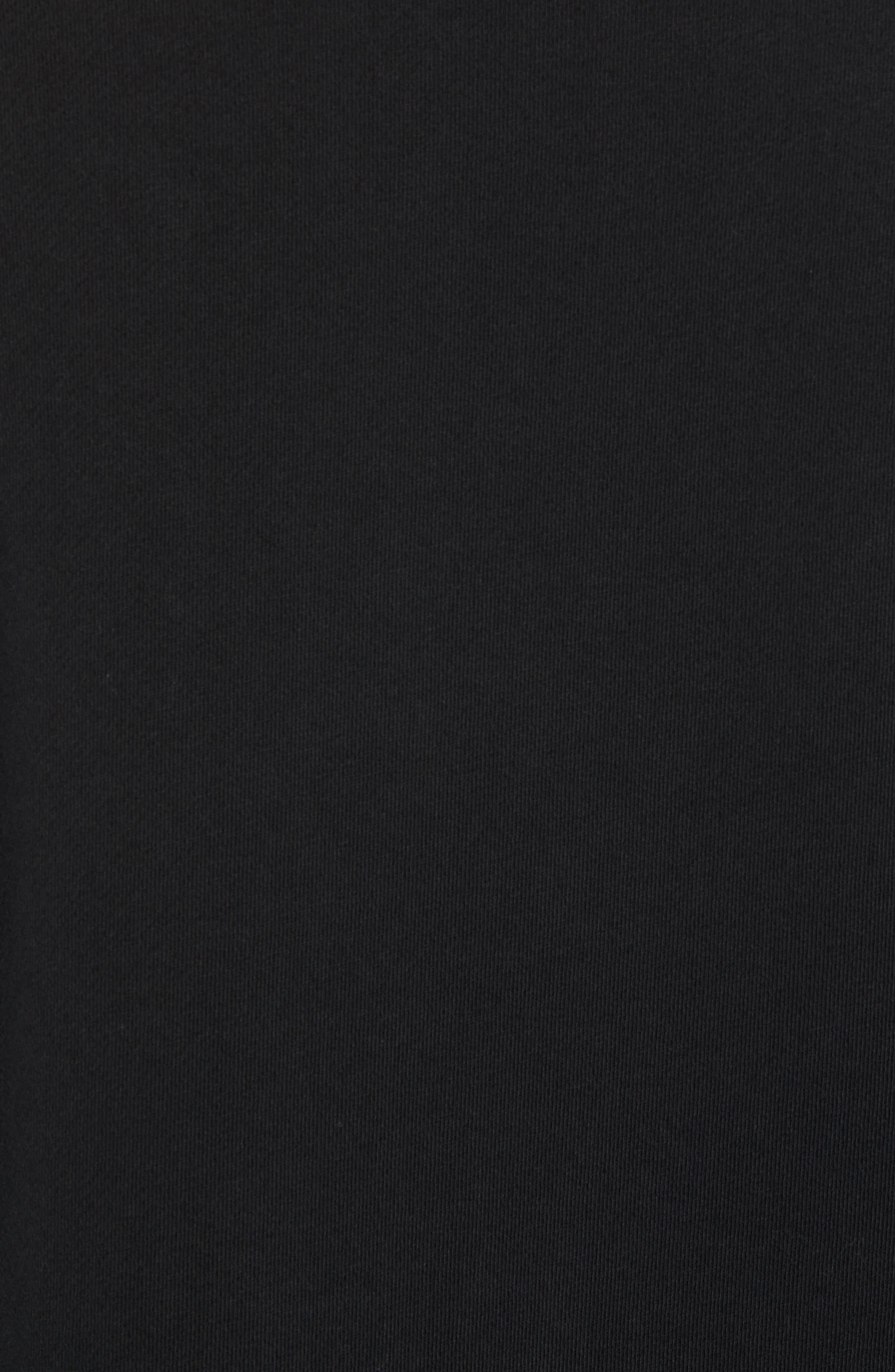 Raw Edge Zipper Crewneck,                             Alternate thumbnail 5, color,                             True Black
