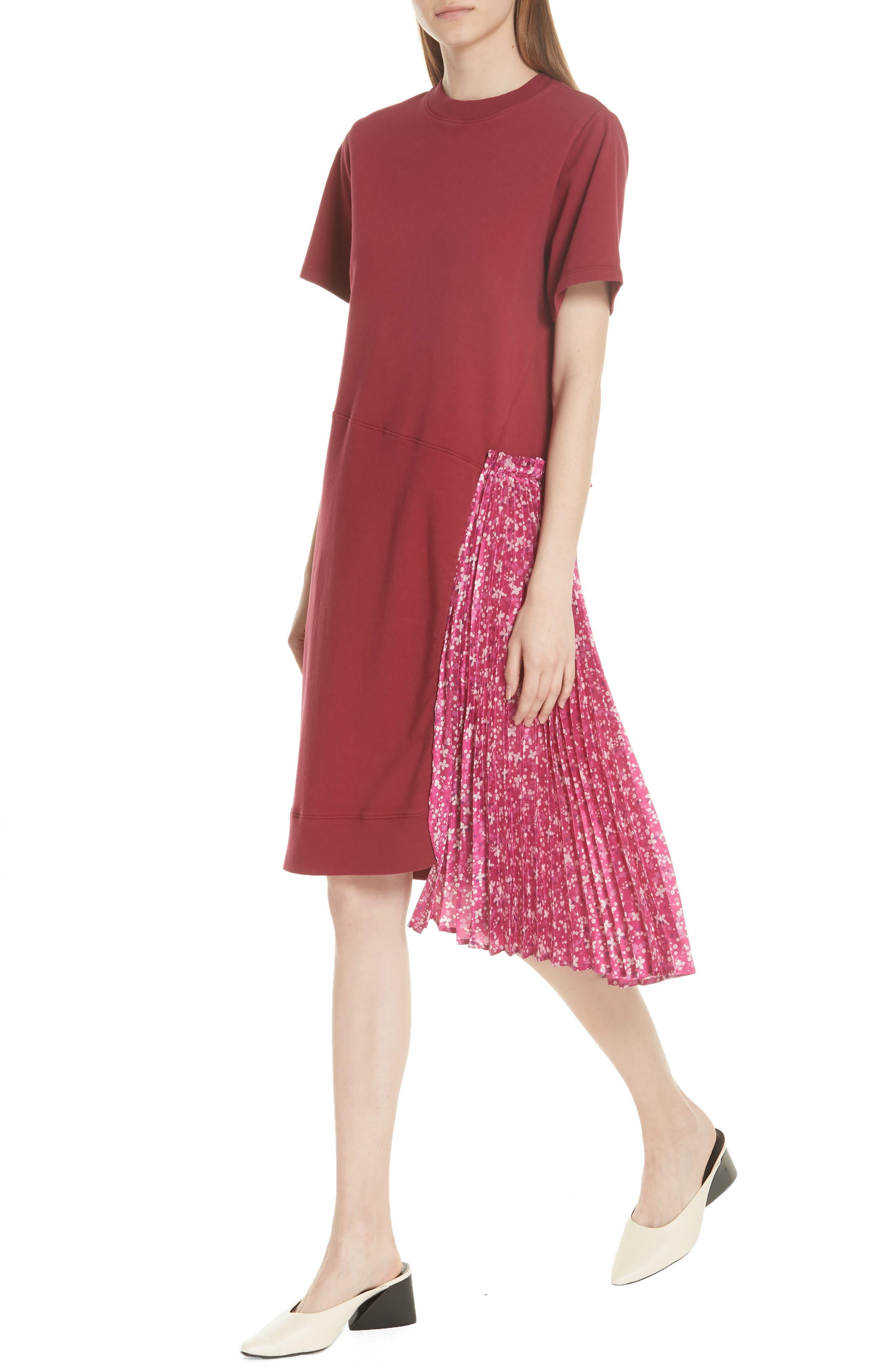 Floral Side Pleat Dress,                             Alternate thumbnail 4, color,                             Carmine