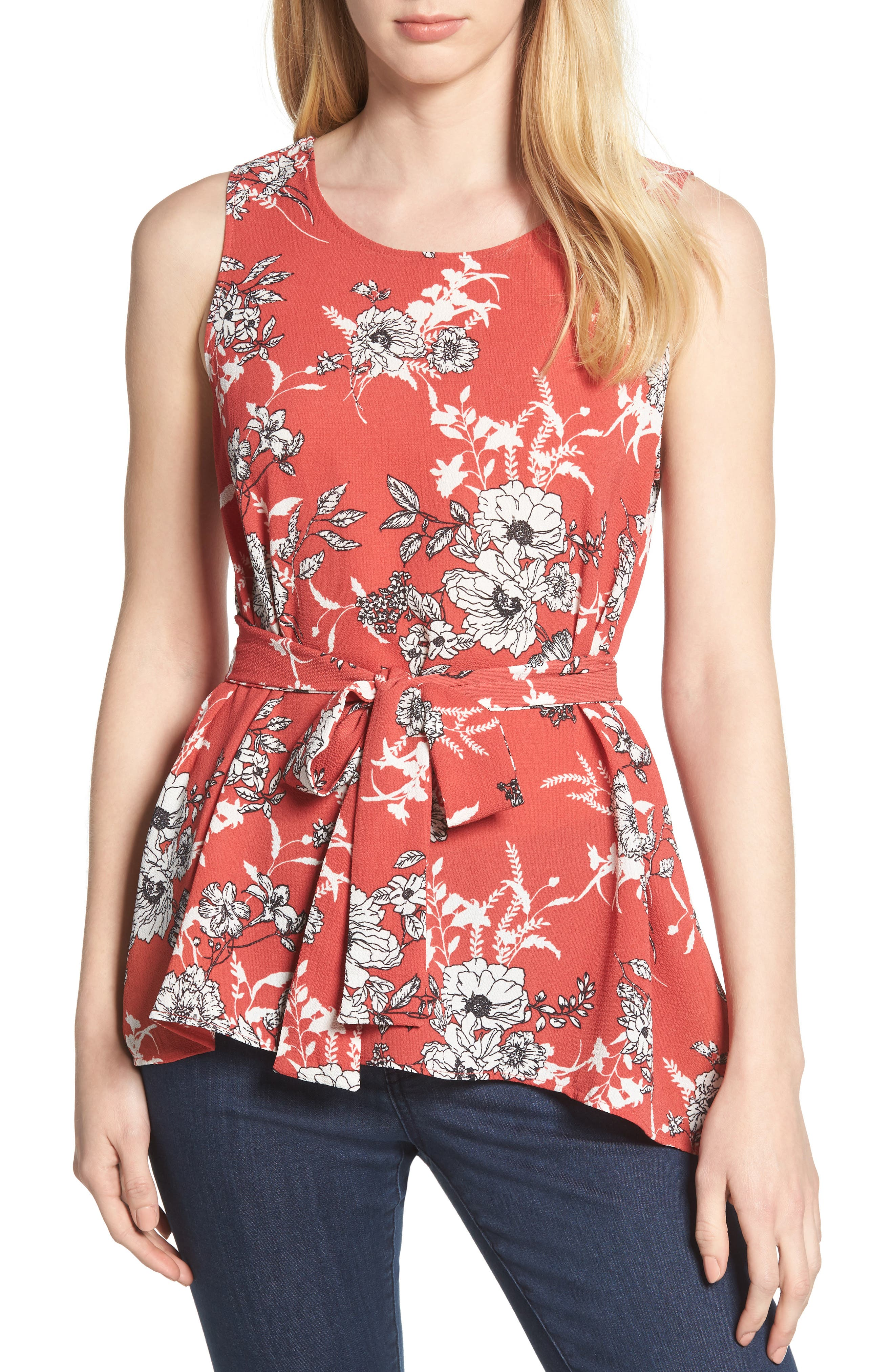 Asymmetrical Tie Front Stretch Crepe Blouse,                             Main thumbnail 1, color,                             Red/ White Floral