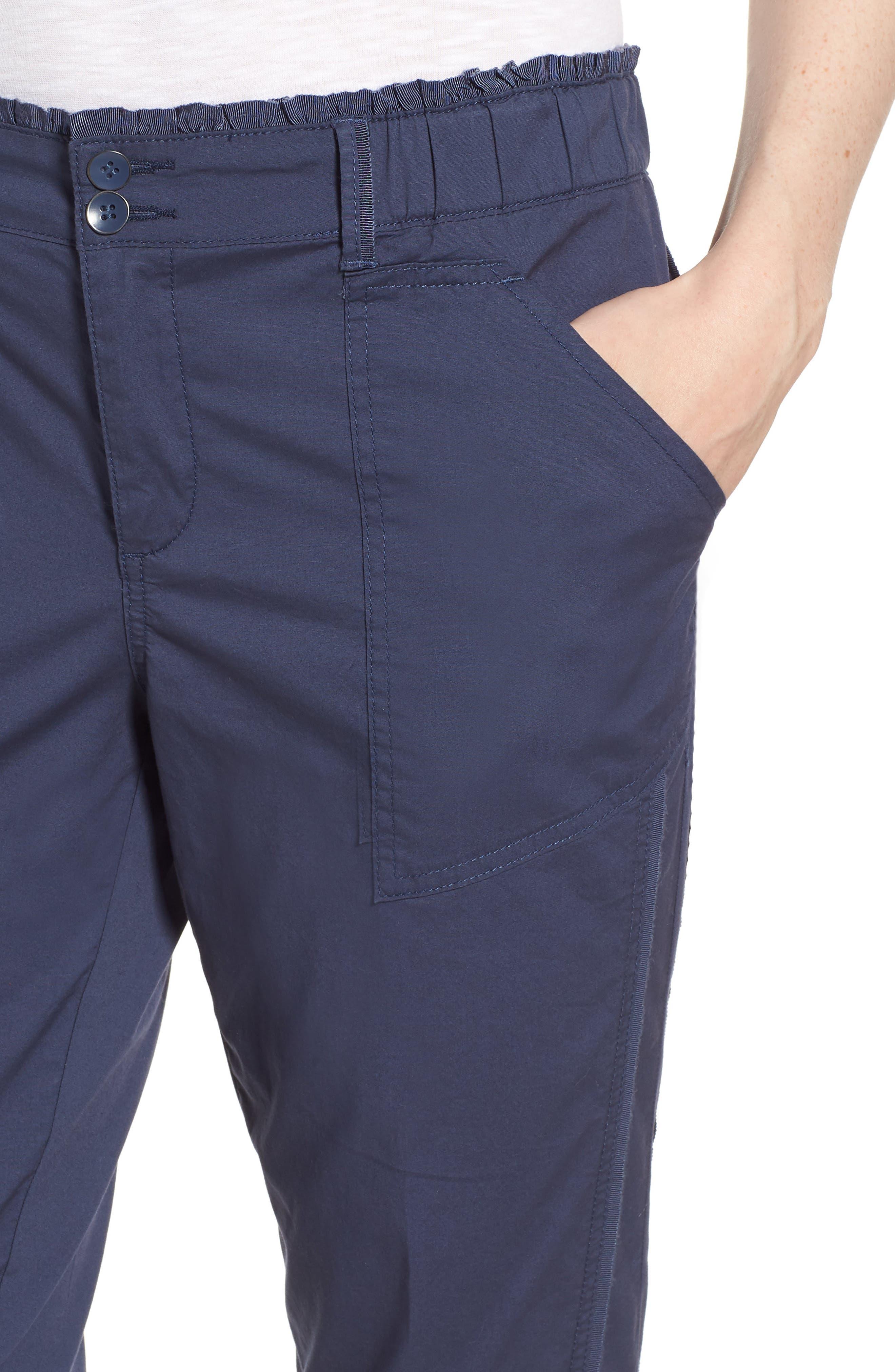 Tie Cuff Stretch Cotton Crop Pants,                             Alternate thumbnail 4, color,                             Ensign Blue