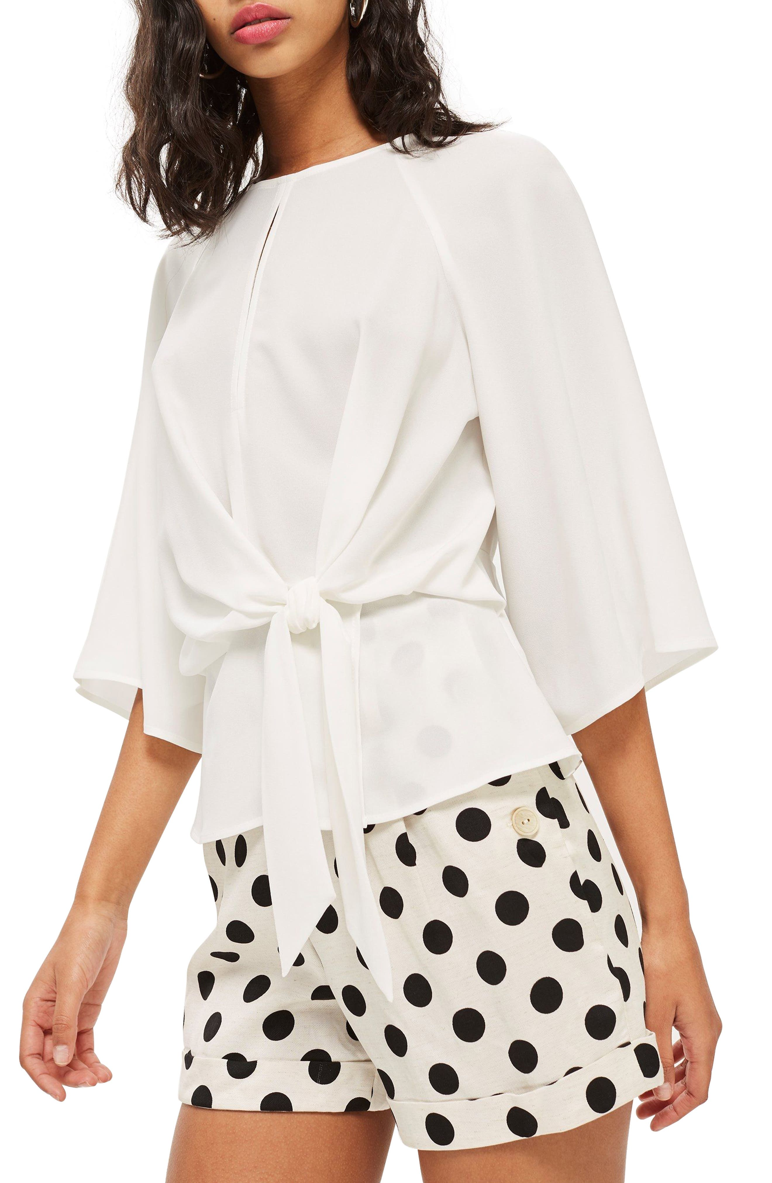 Slouchy Knot Front Blouse,                         Main,                         color, Ivory