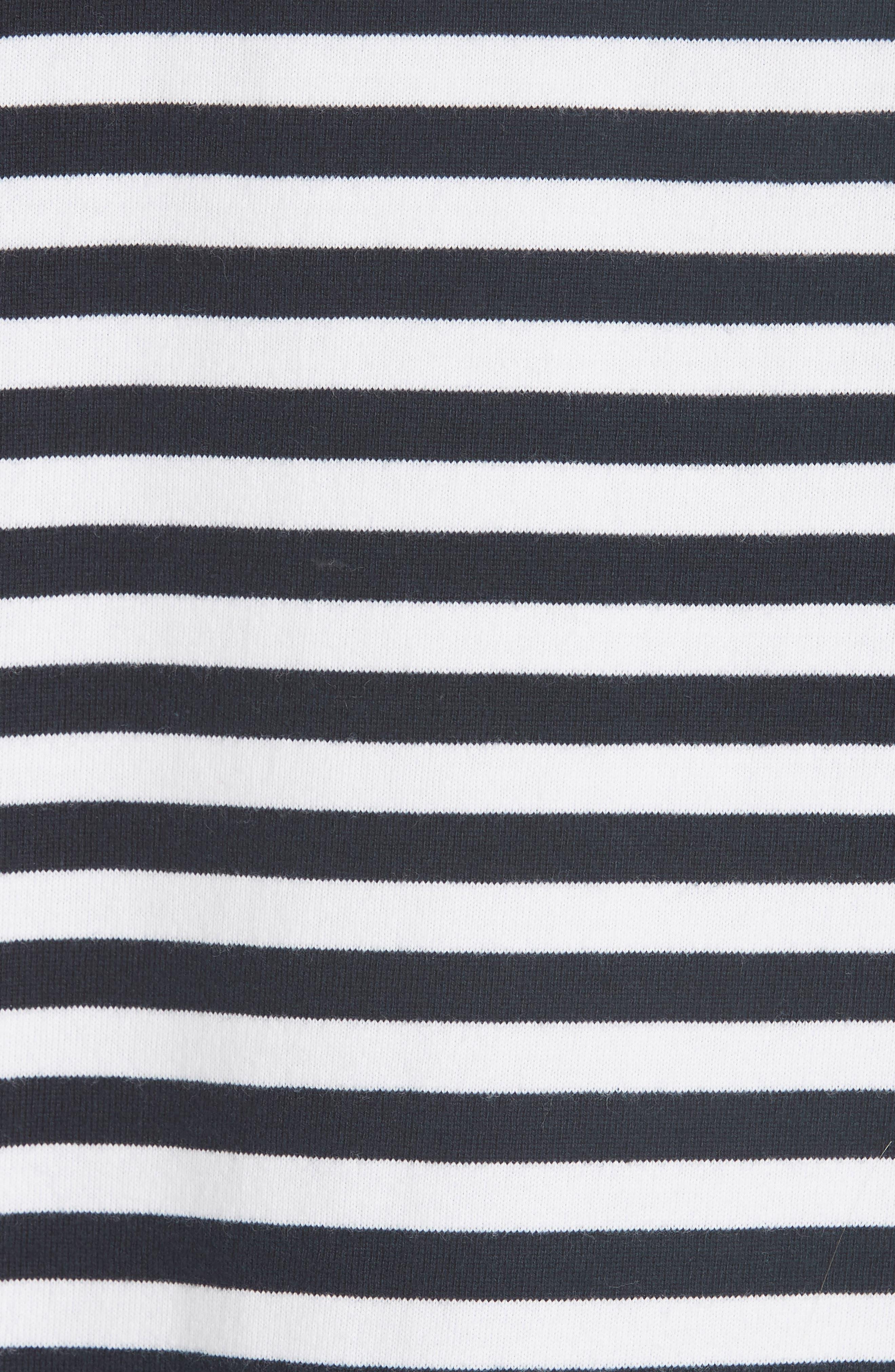 Ruffle Trim Stripe Top,                             Alternate thumbnail 3, color,                             Navy