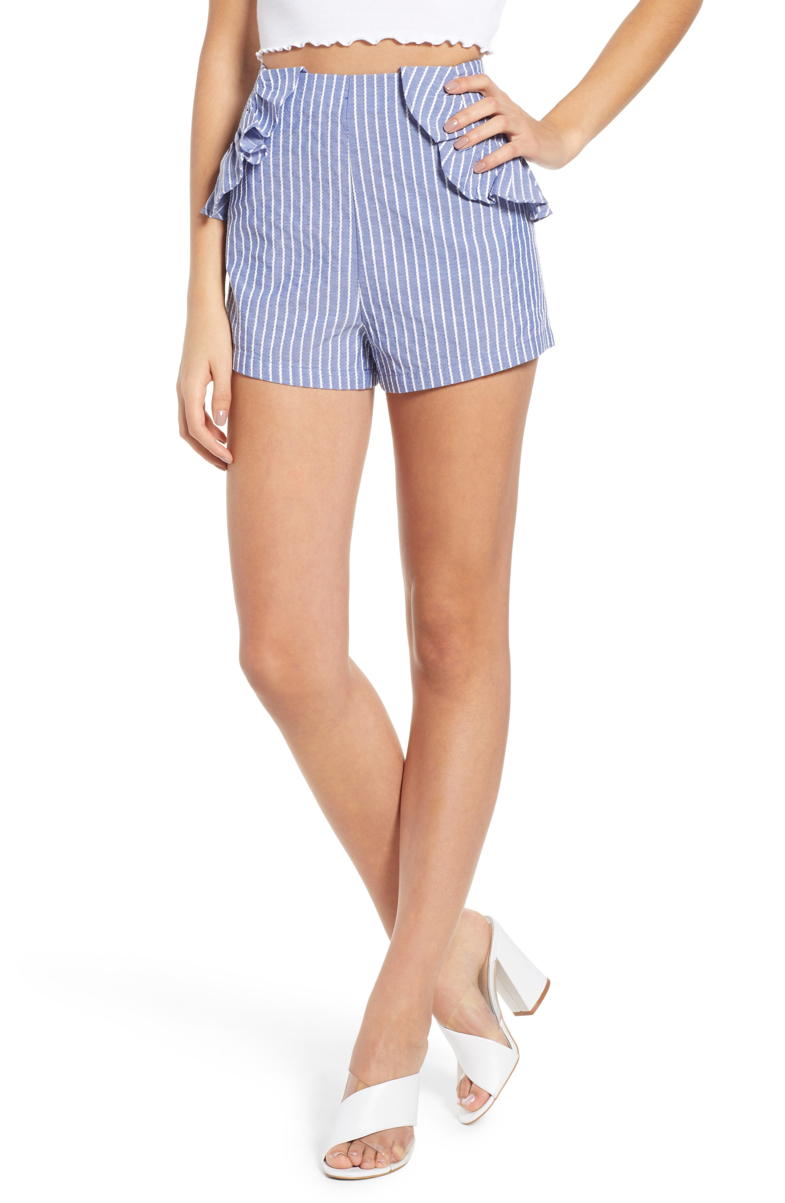 Parcel Ruffle Detail Shorts,                             Main thumbnail 1, color,                             Blue With White