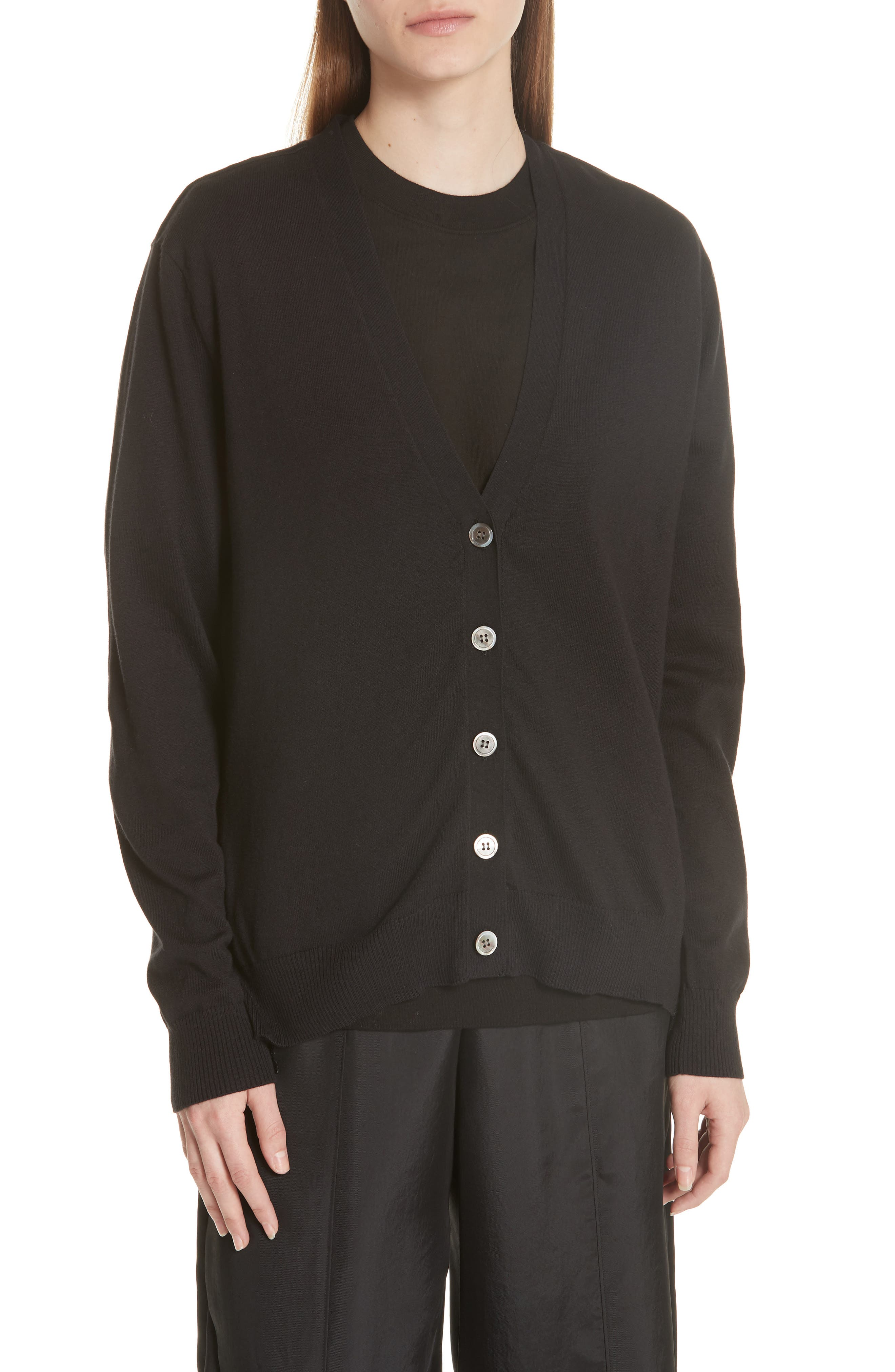 Pleat Back Cardigan,                             Main thumbnail 1, color,                             Black