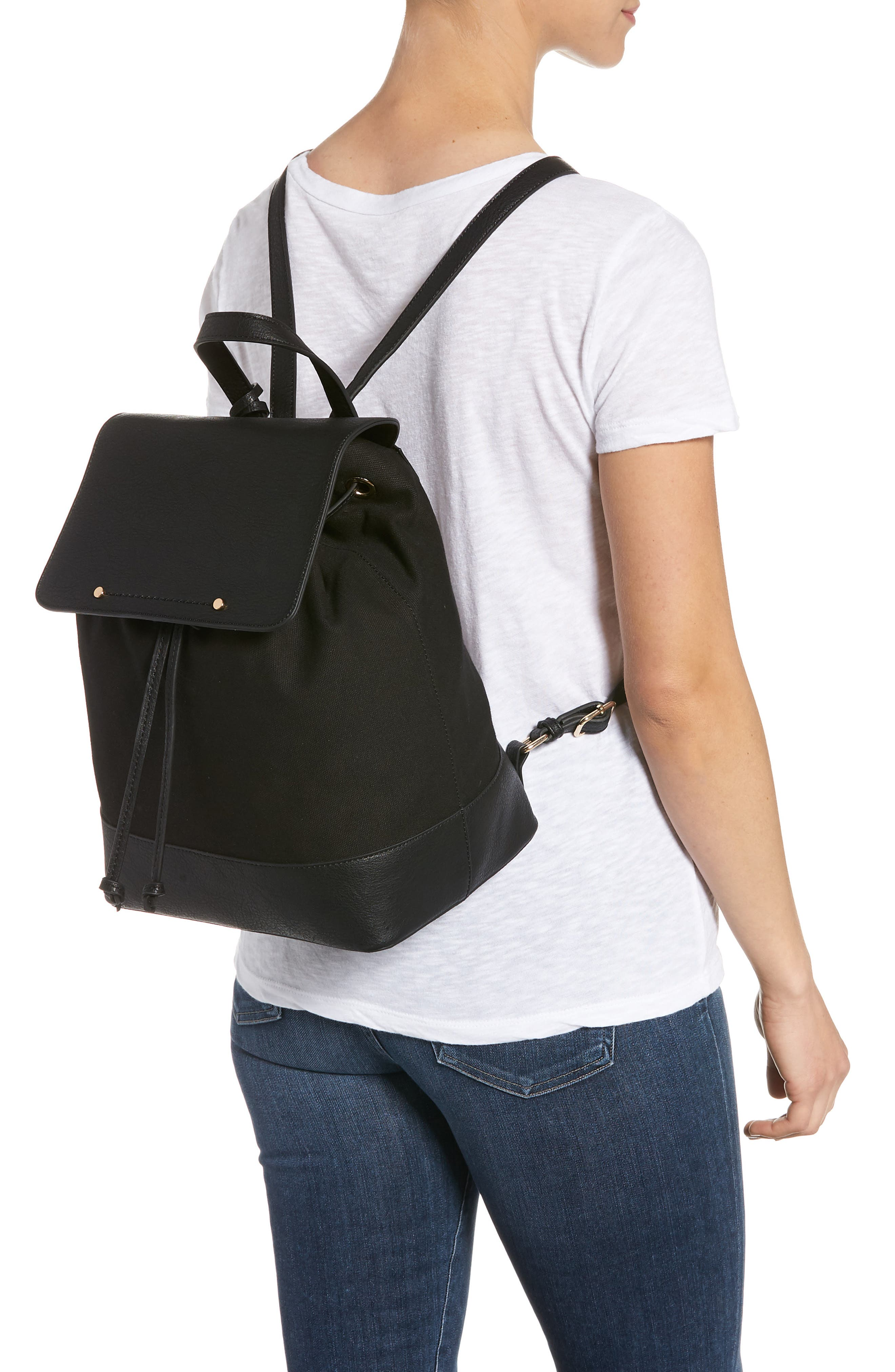 Canvas & Faux Leather Backpack,                             Alternate thumbnail 2, color,                             Black