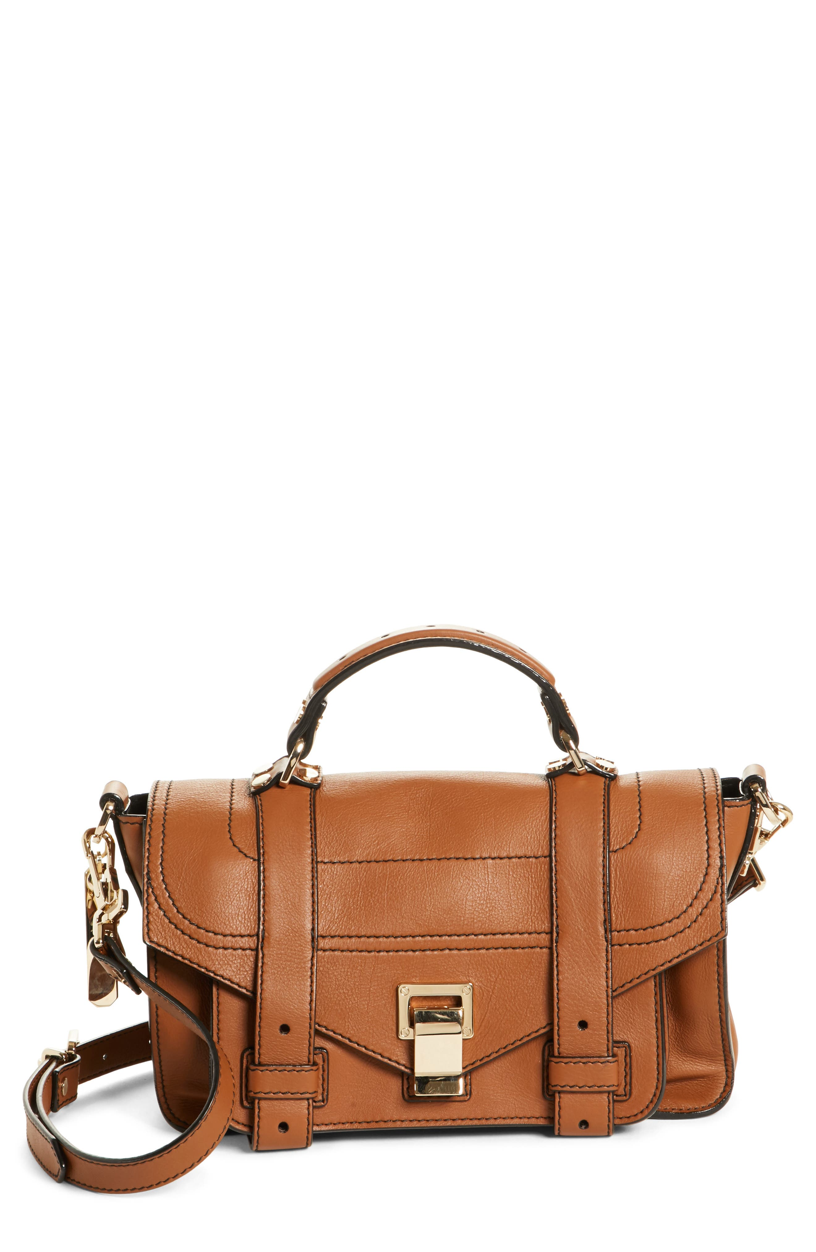 Tiny PS1 Grainy Leather Satchel,                         Main,                         color, Sienna