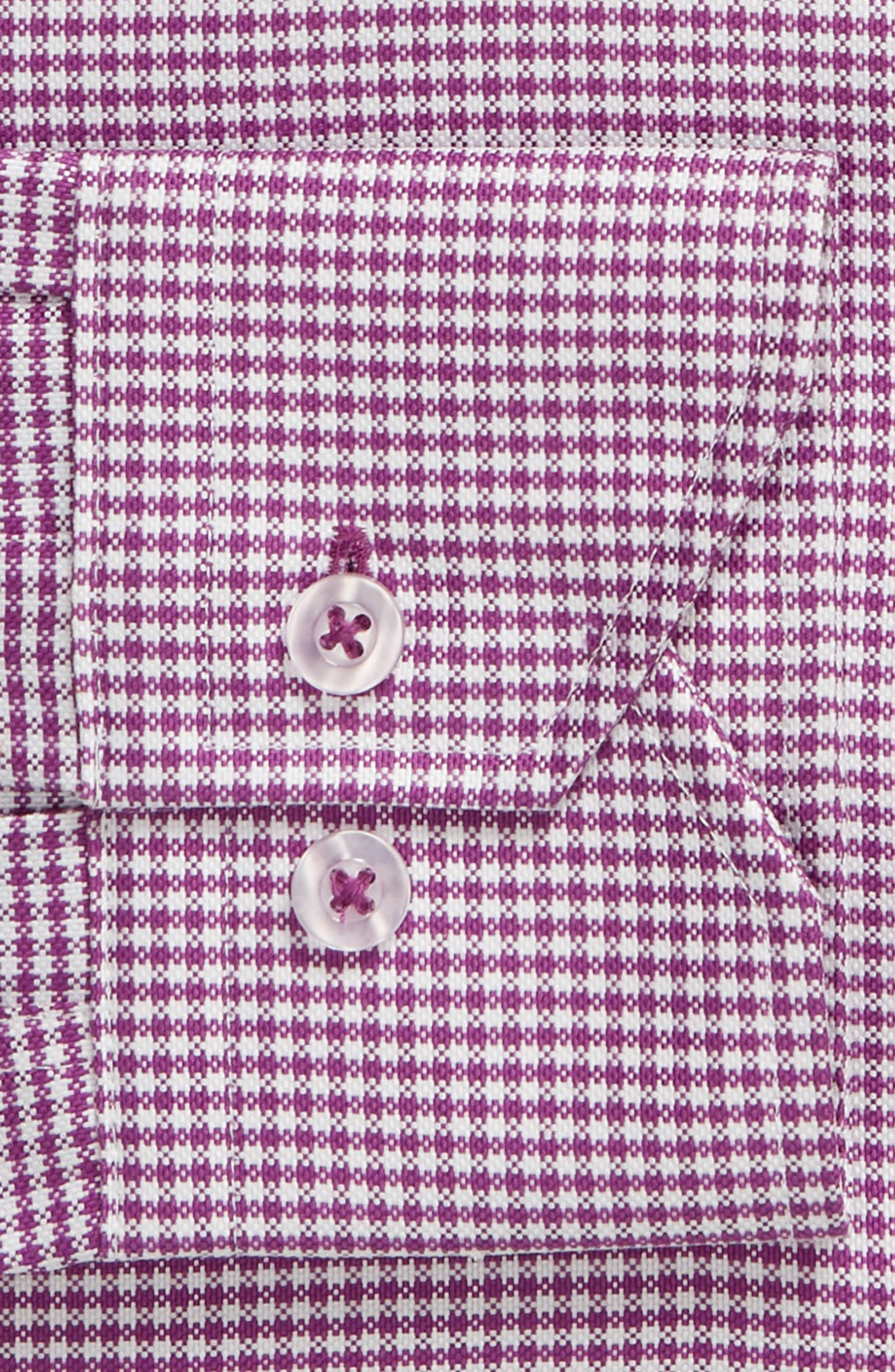 Trim Fit Check Dress Shirt,                             Alternate thumbnail 5, color,                             Purple