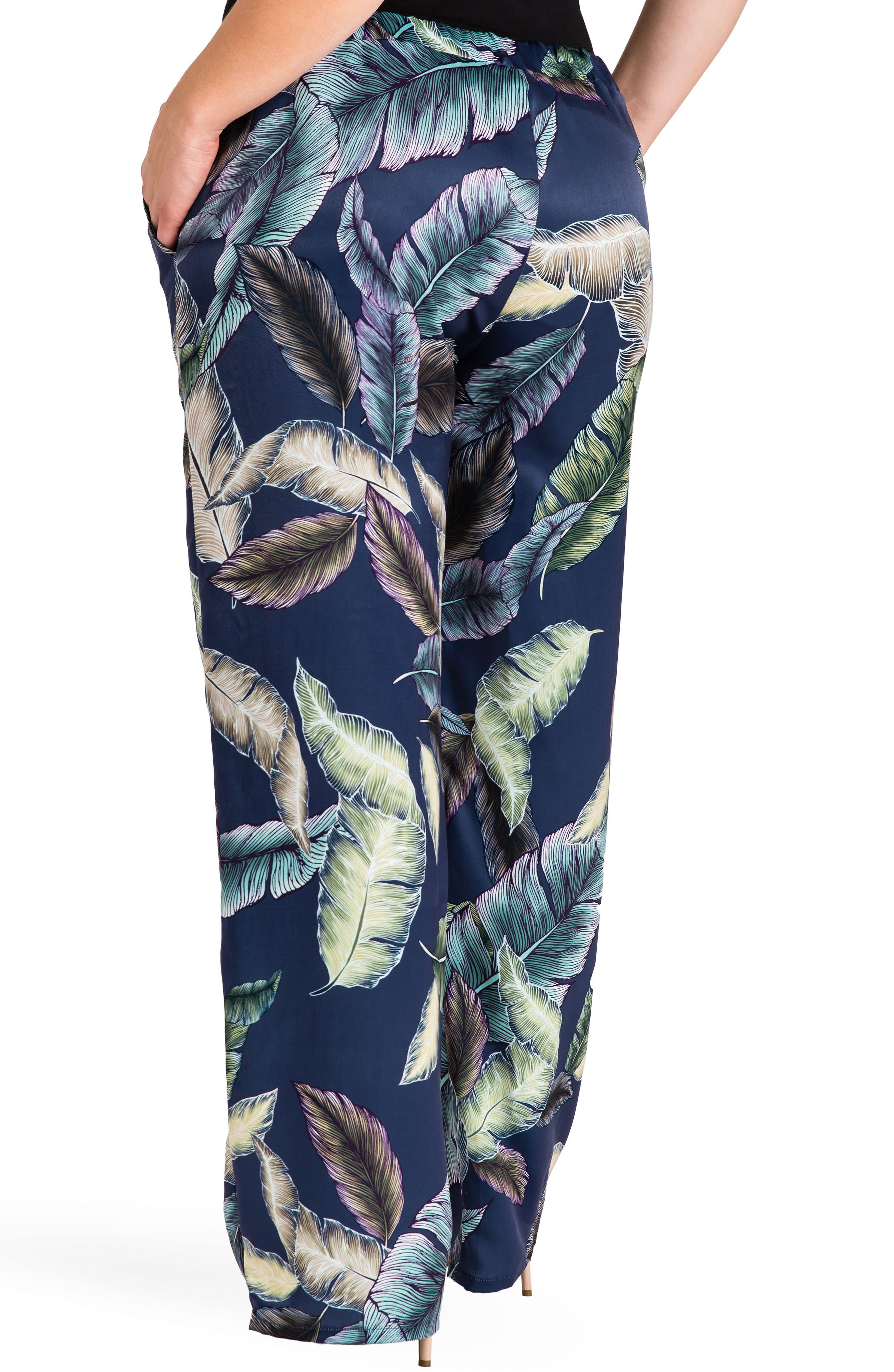 Rada Print Wide Leg Pants,                             Alternate thumbnail 3, color,                             Leaf Print