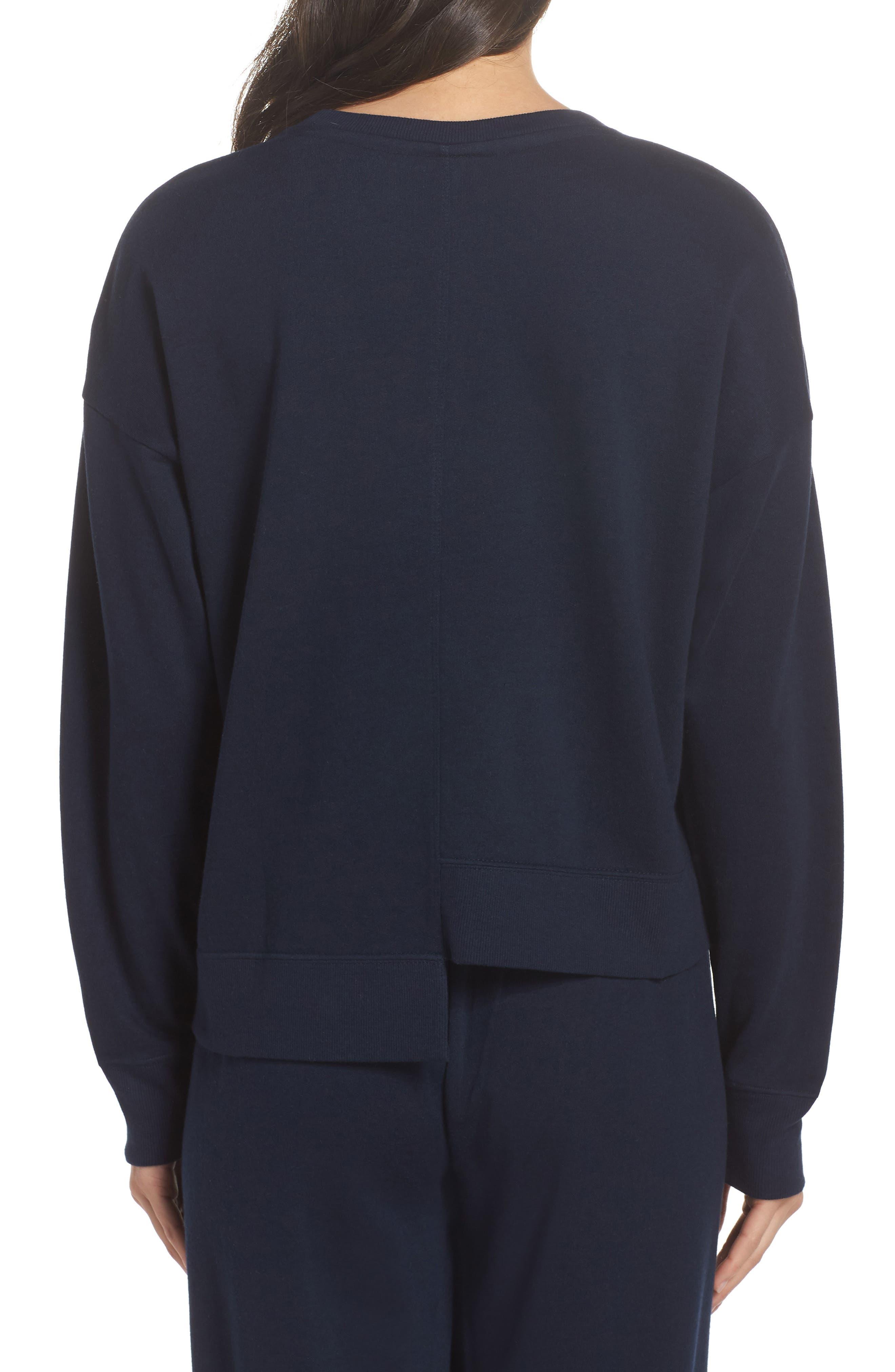 Asymmetric Hem Sweatshirt,                             Alternate thumbnail 2, color,                             Navy Blazer
