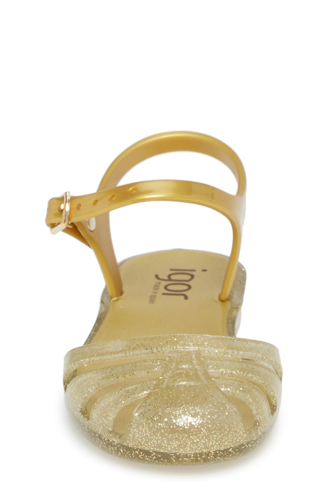 'Mara Mini' Glitter Jelly Sandal,                             Alternate thumbnail 4, color,                             Gold Glitter