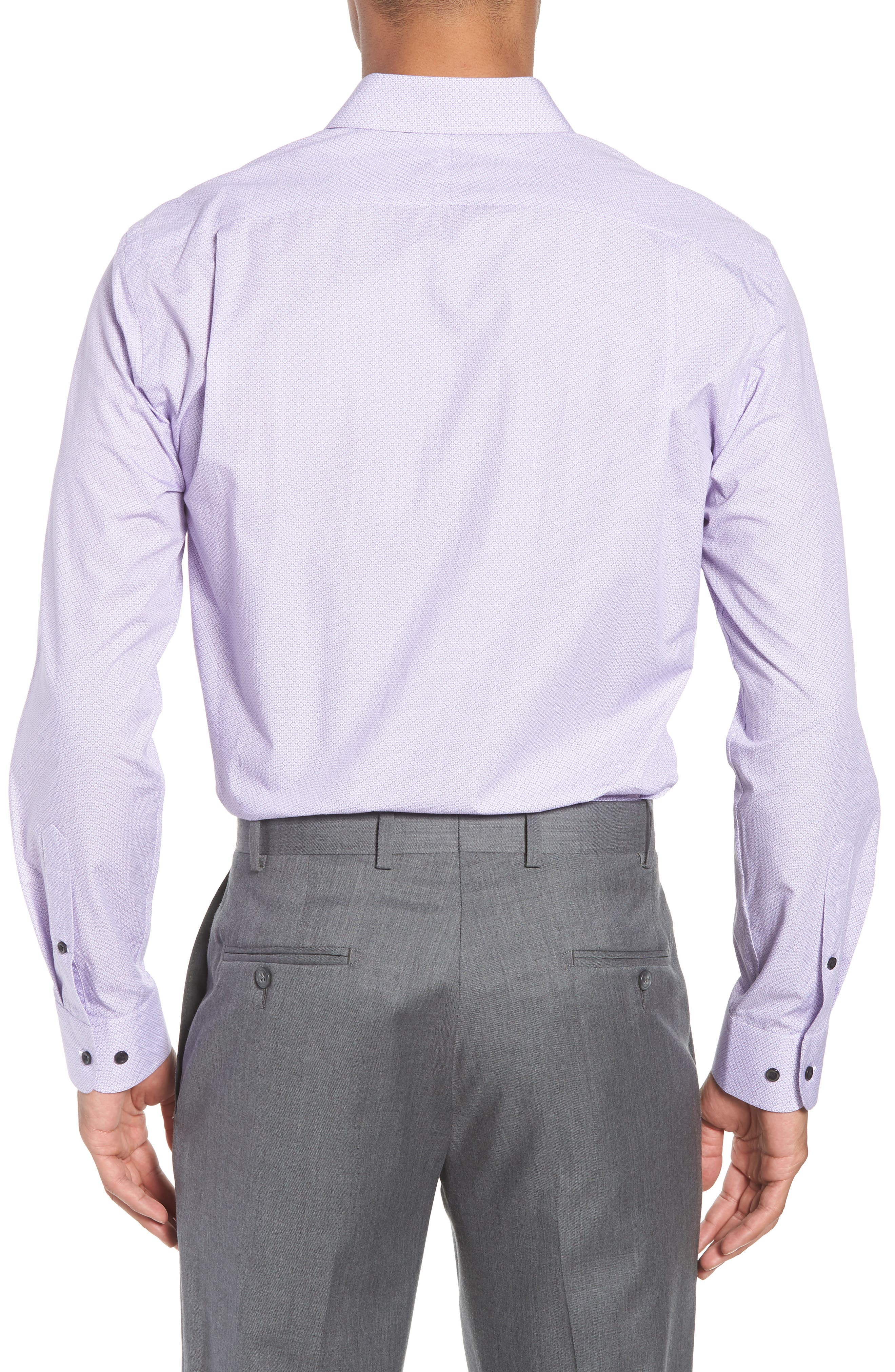 Trim Fit Geometric Dress Shirt,                             Alternate thumbnail 3, color,                             Purple Regal