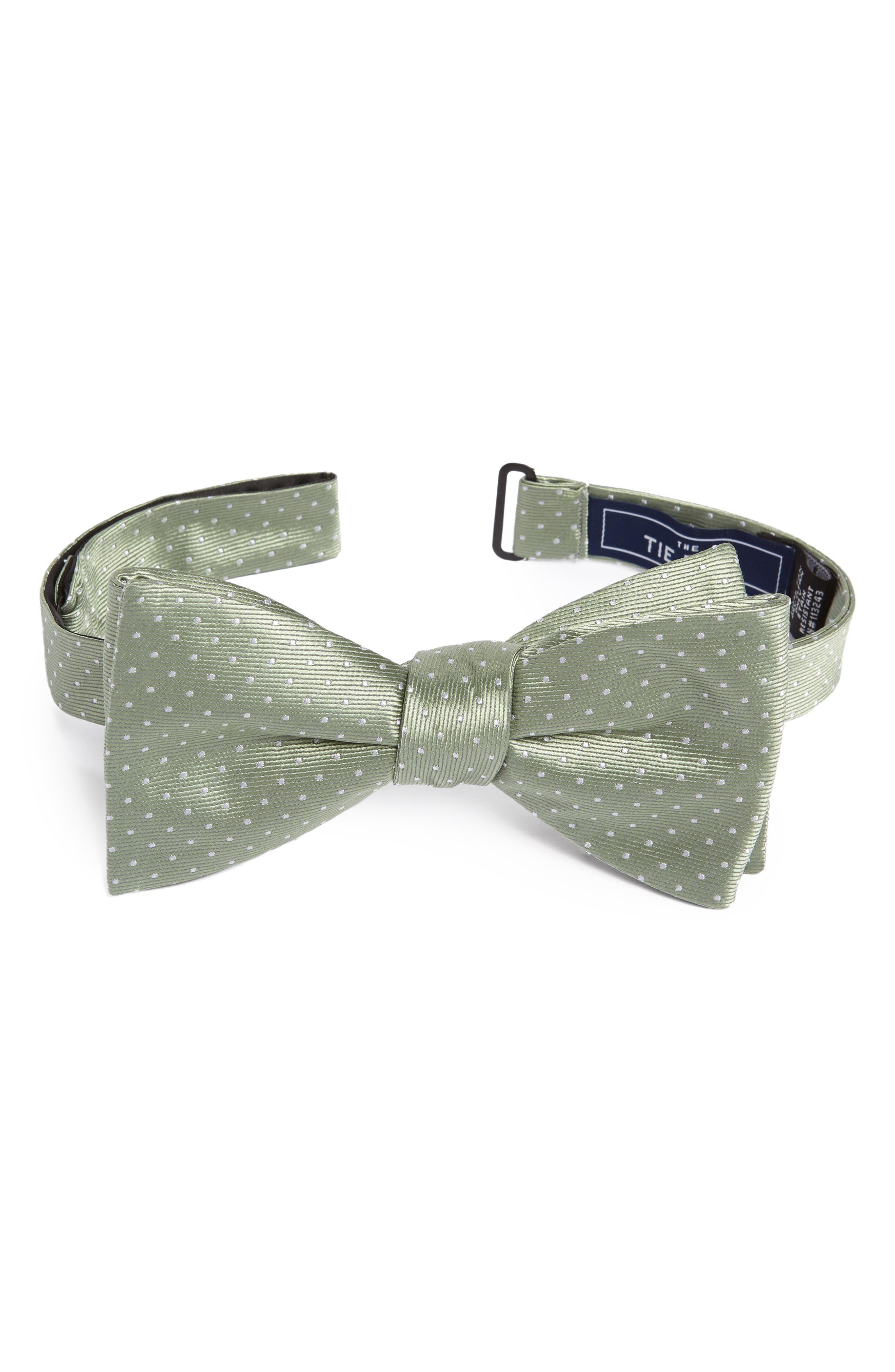 Pin Dot Silk Bow Tie,                             Main thumbnail 1, color,                             Sage Green