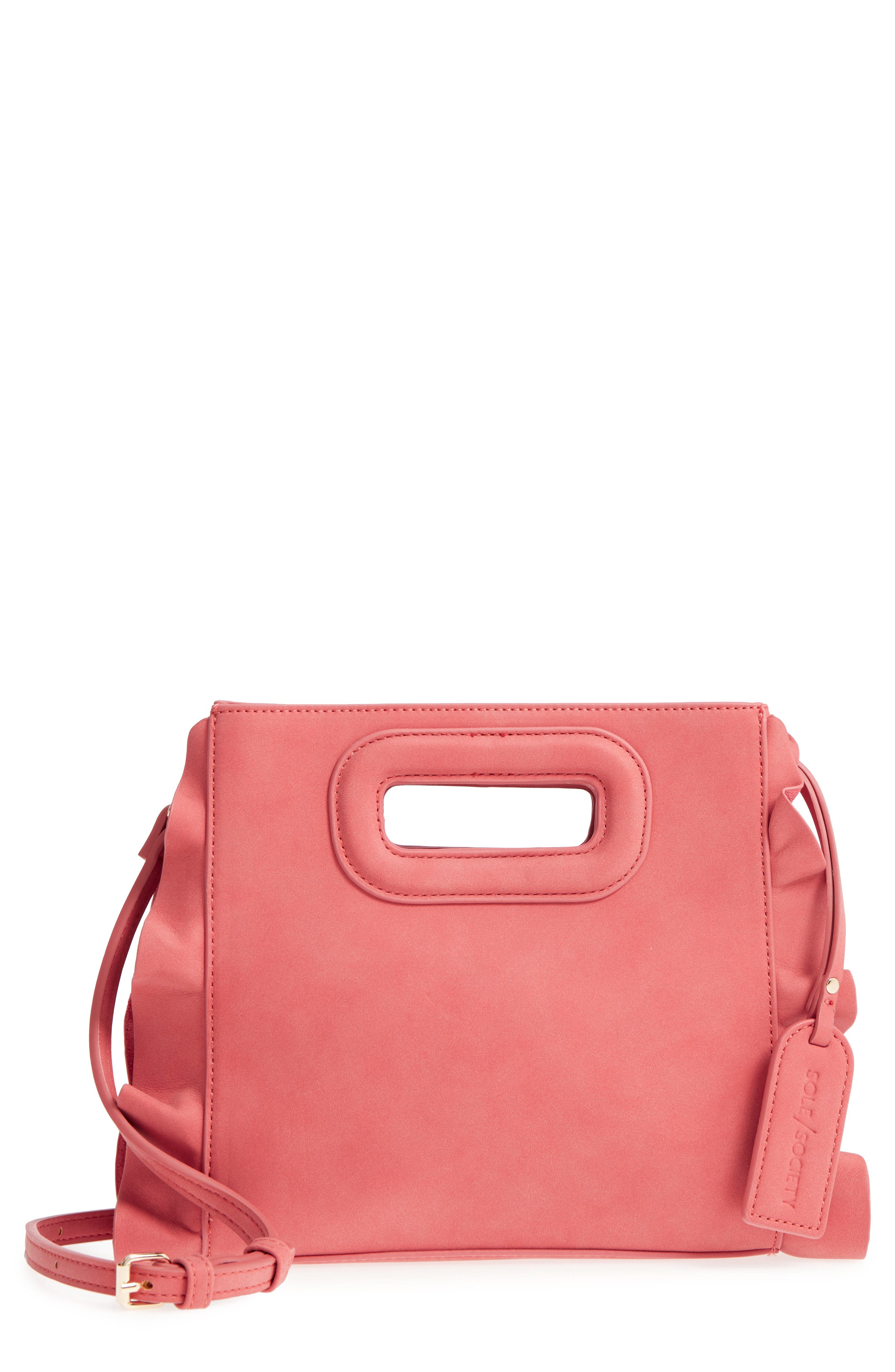 Faux Leather Crossbody Bag,                             Main thumbnail 1, color,                             Ginger Spice
