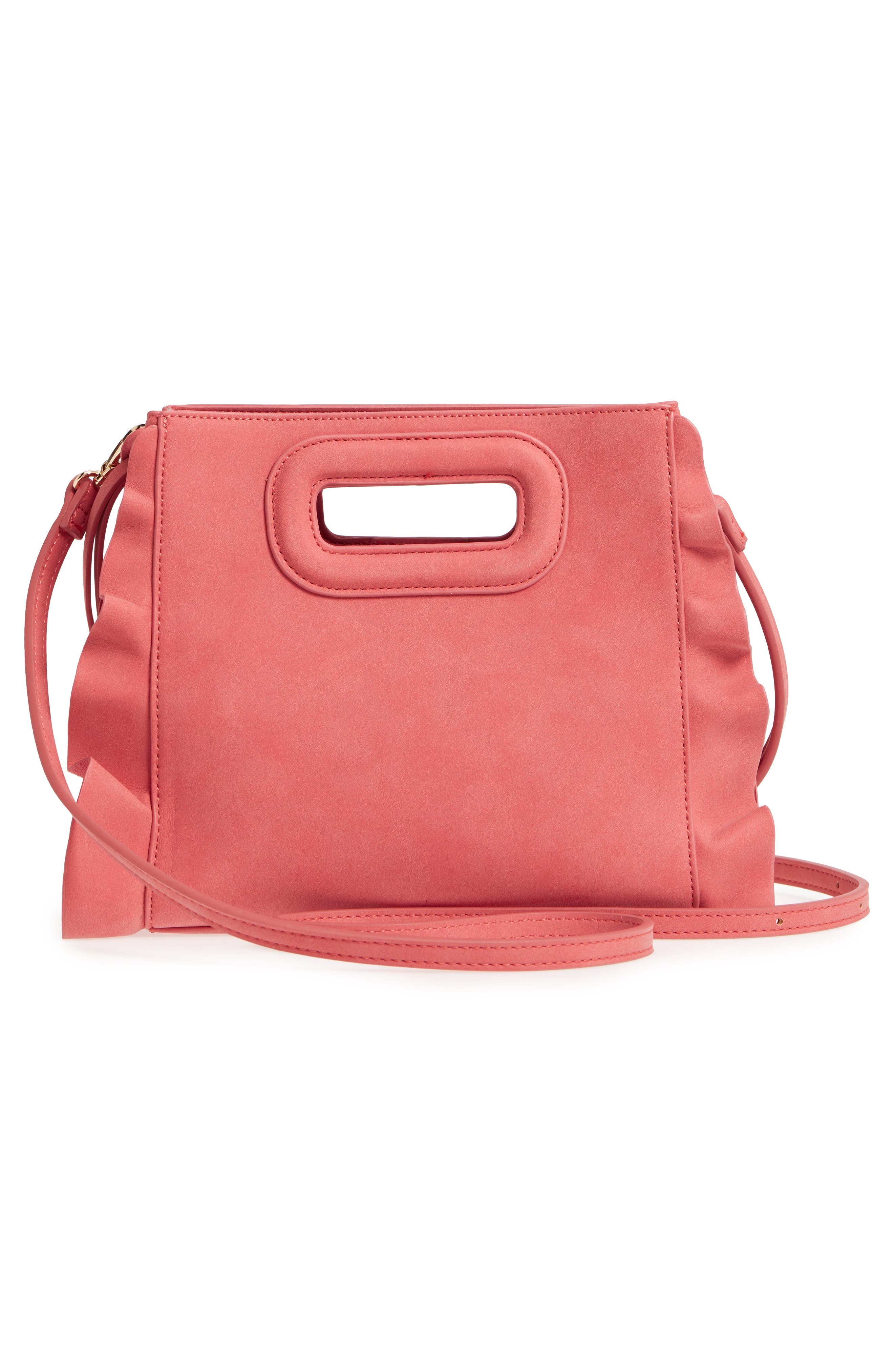 Faux Leather Crossbody Bag,                             Alternate thumbnail 3, color,                             Ginger Spice