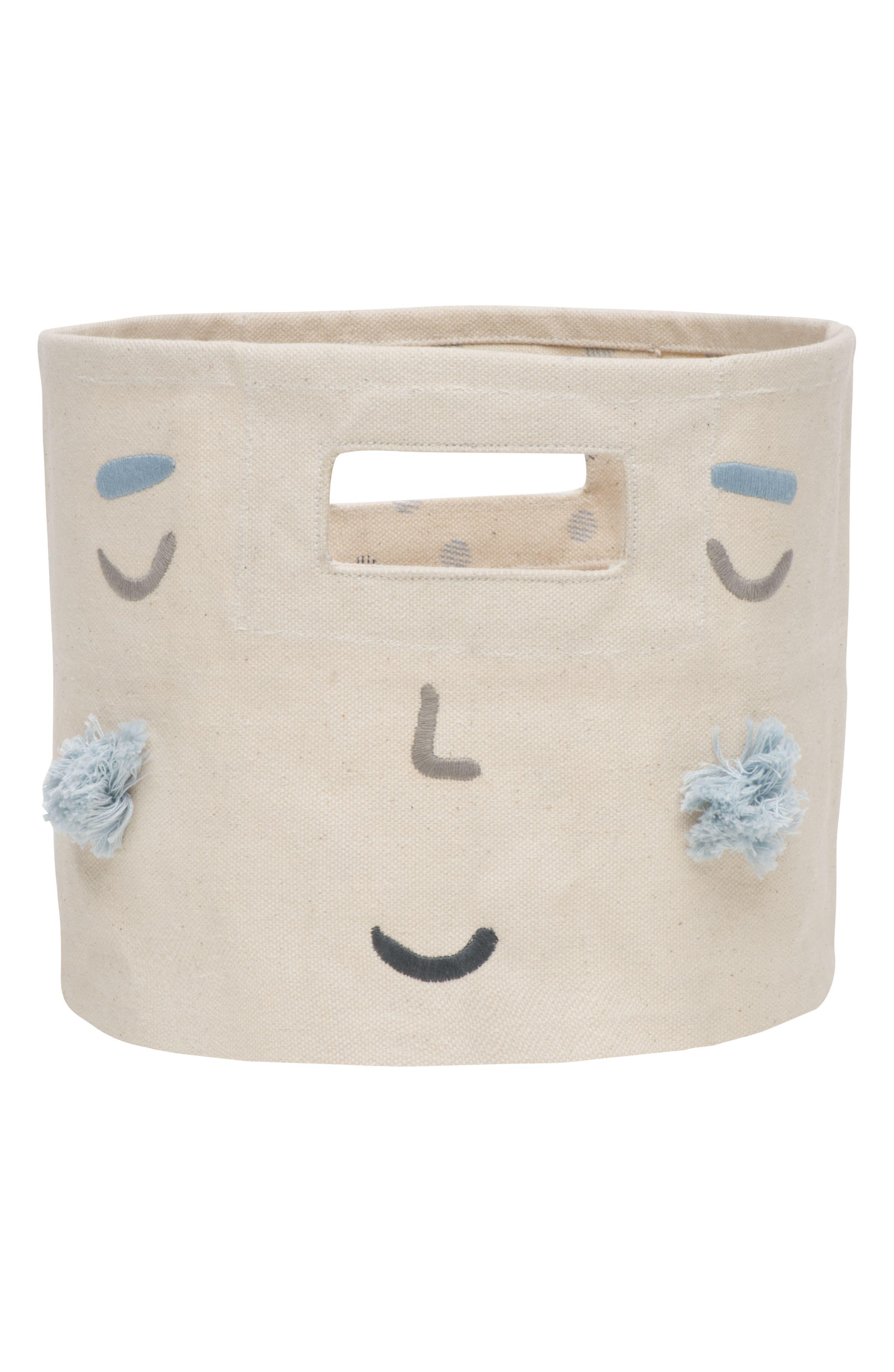 Peek-A-Boo Boy Mini Canvas Bin,                             Alternate thumbnail 2, color,                             Ivory