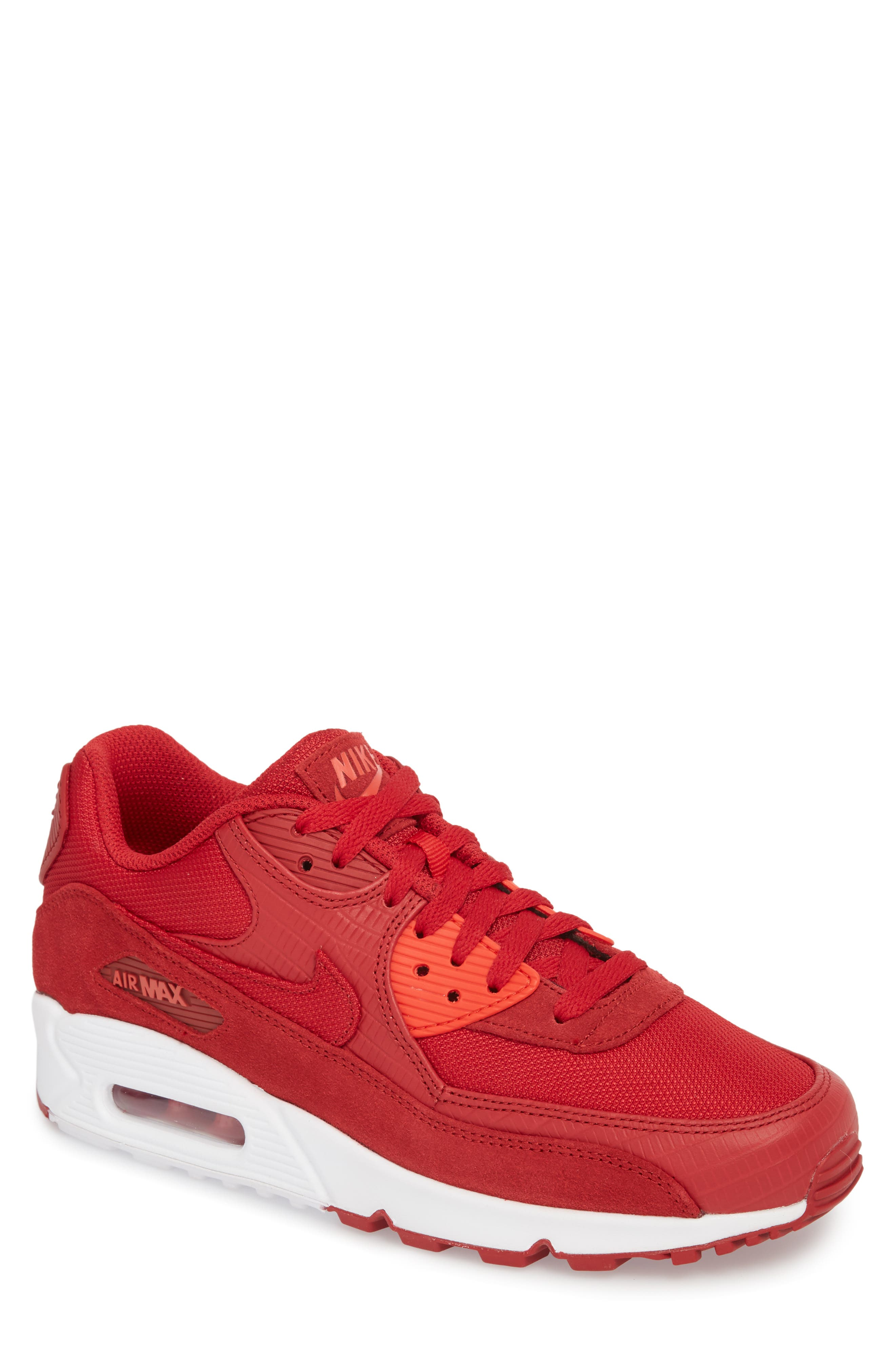 Air Max 90 Premium Sneaker,                             Main thumbnail 1, color,                             Gym Red/ White