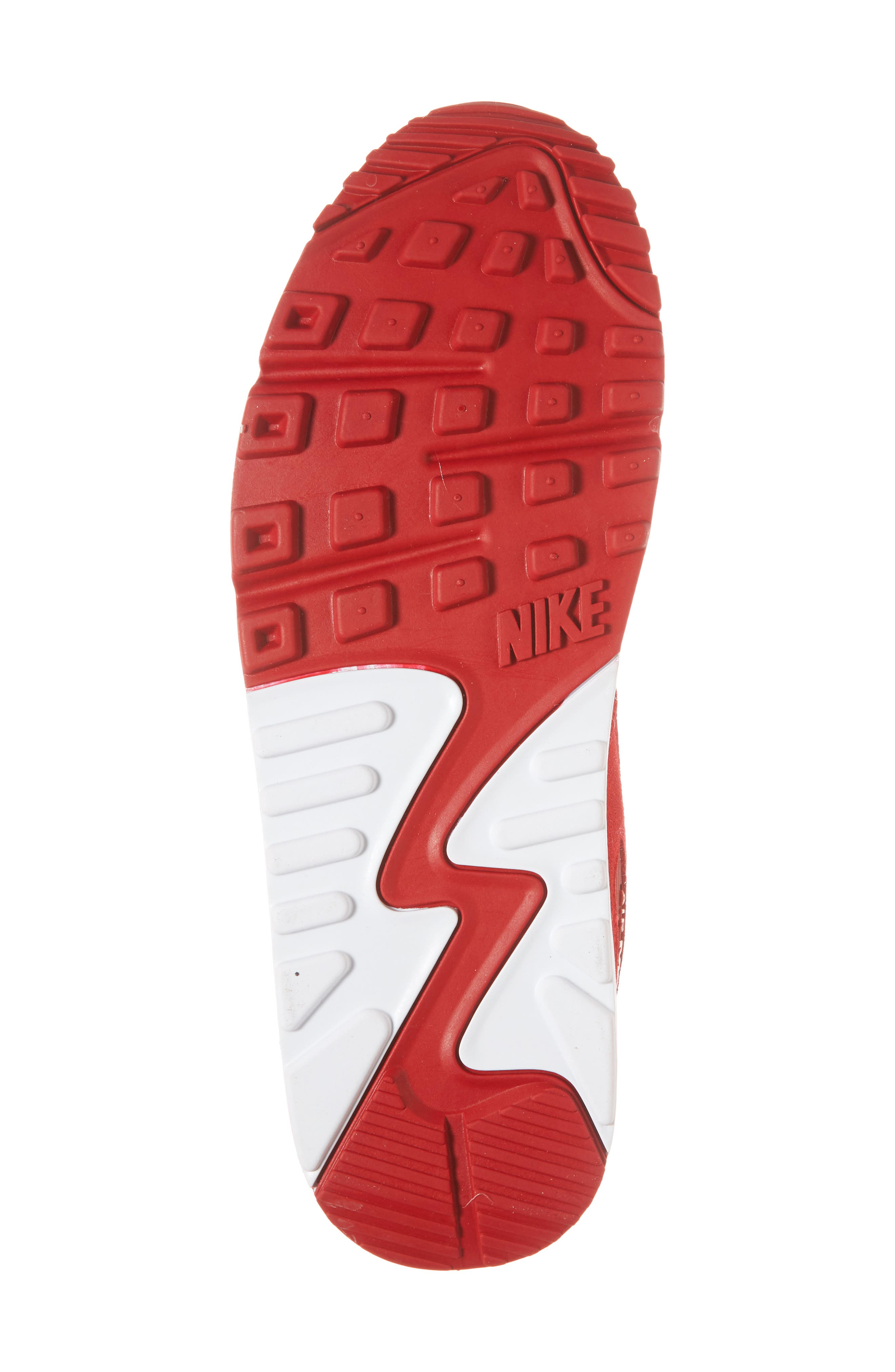Air Max 90 Premium Sneaker,                             Alternate thumbnail 6, color,                             Gym Red/ White
