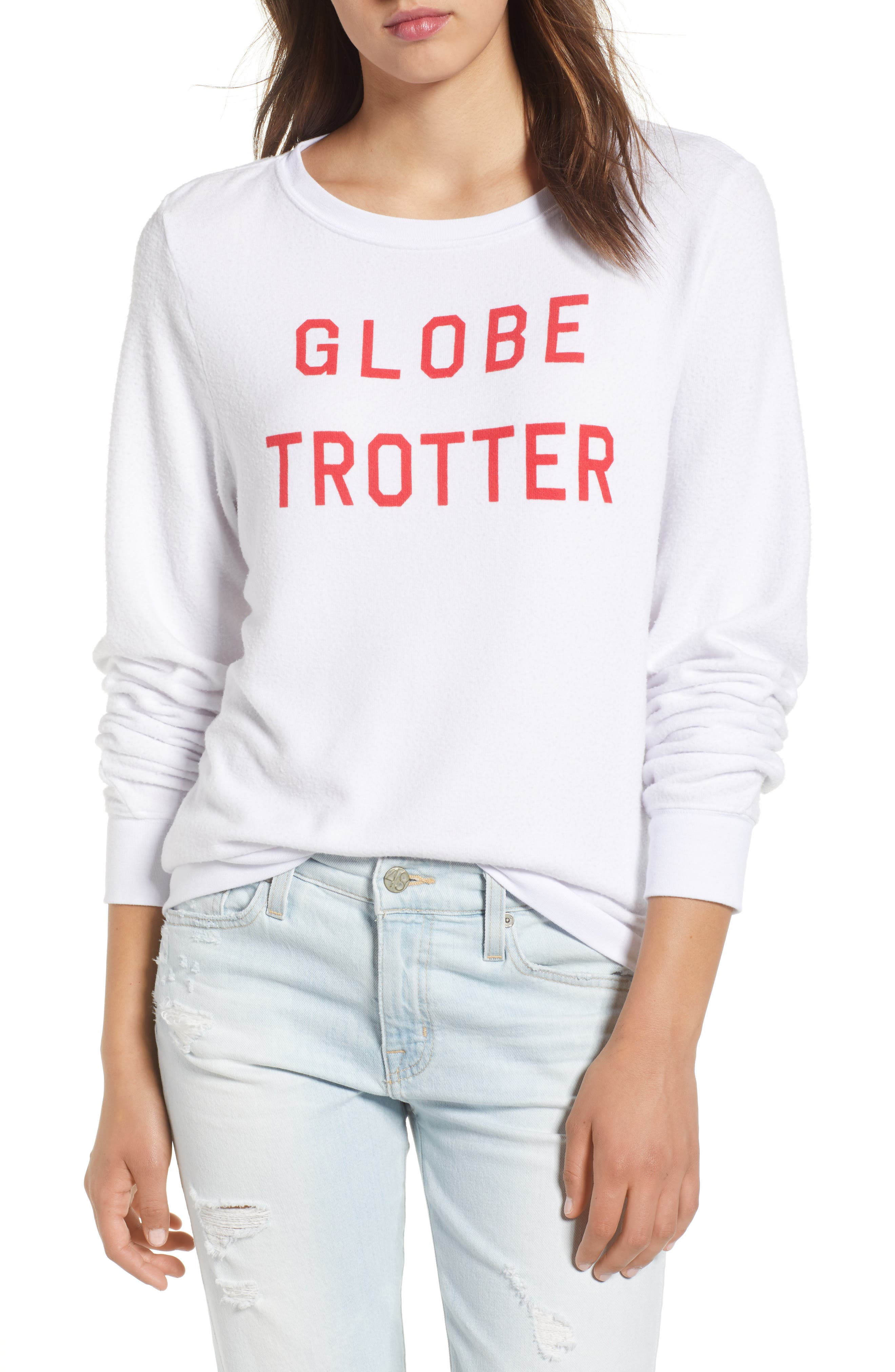 Globetrotter Baggy Beach Pullover,                             Main thumbnail 1, color,                             Clean White