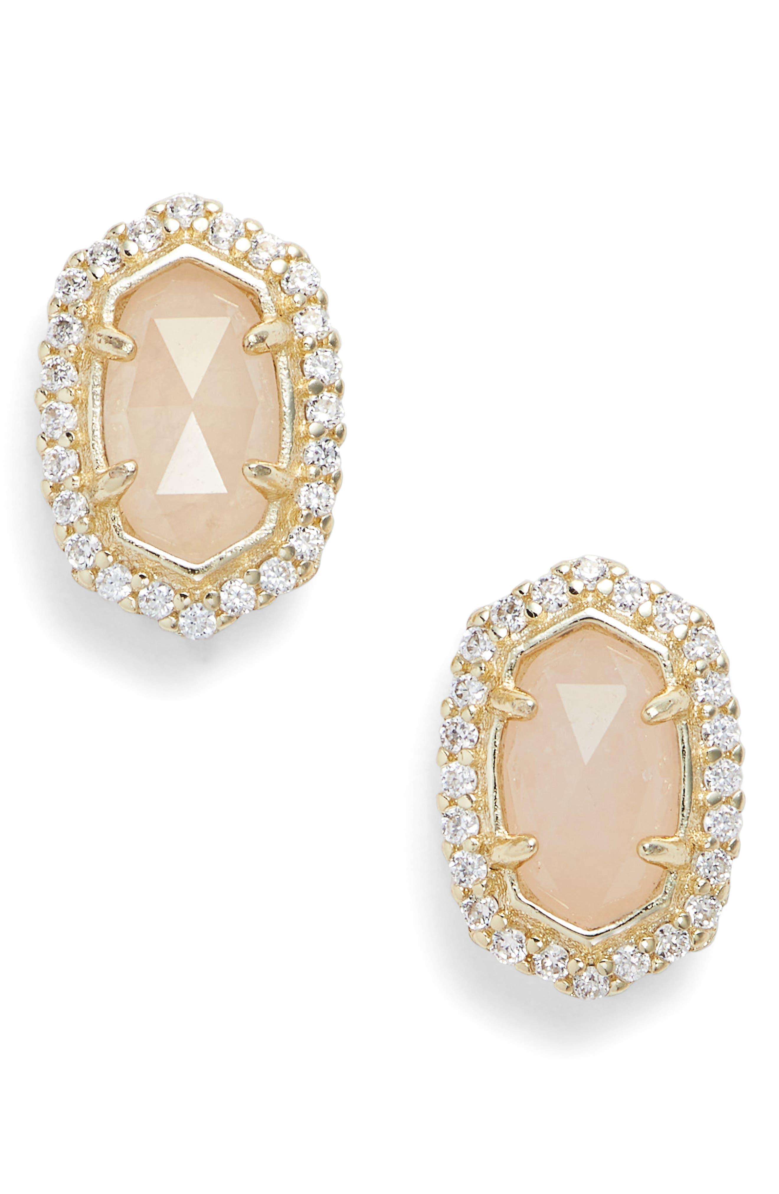 'Cade' Drusy Stud Earrings,                             Main thumbnail 1, color,                             Rose/ Gold