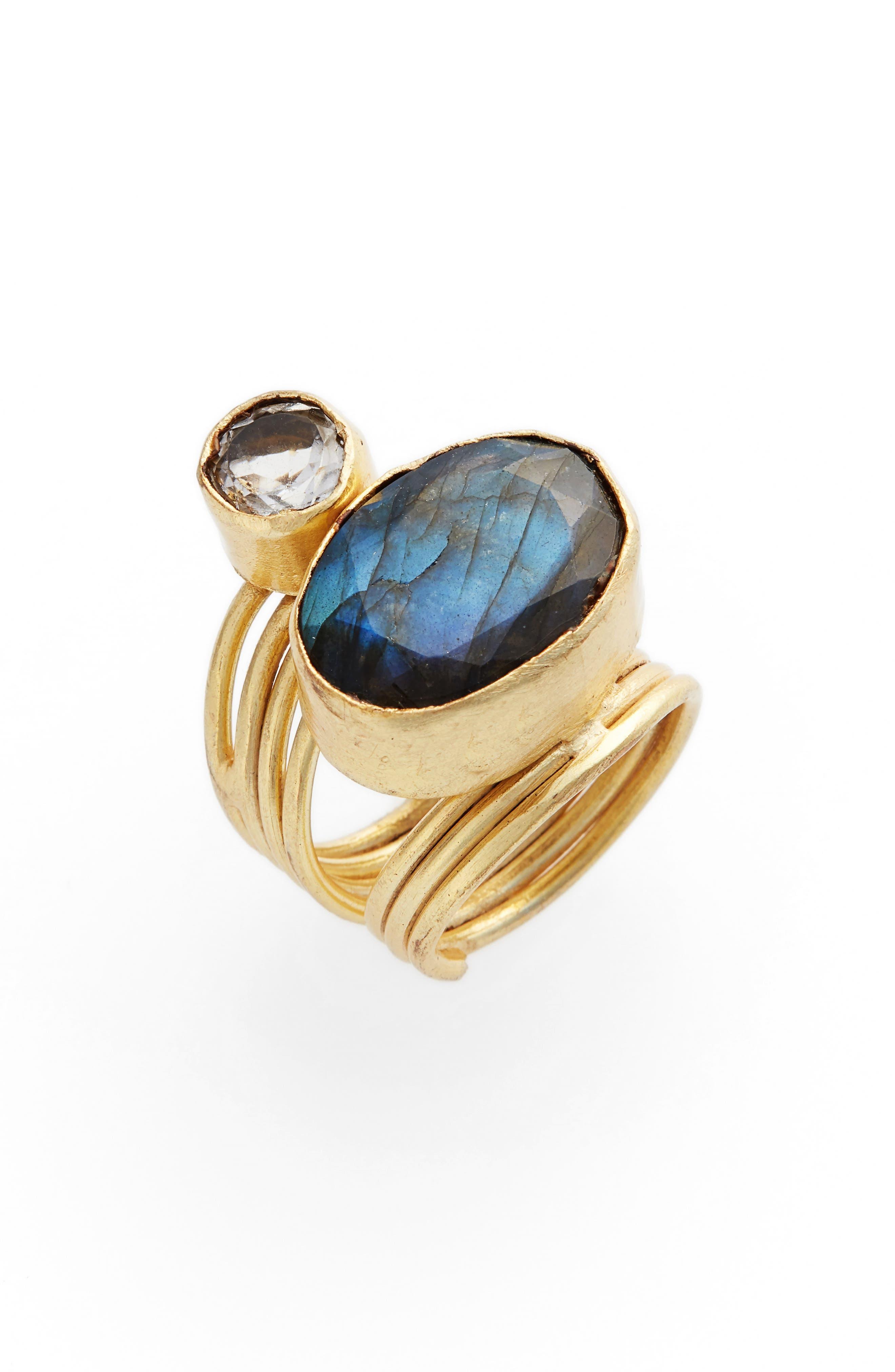 Luisa Labradorite & Crystal Ring,                         Main,                         color, Gold/ Labradoriate