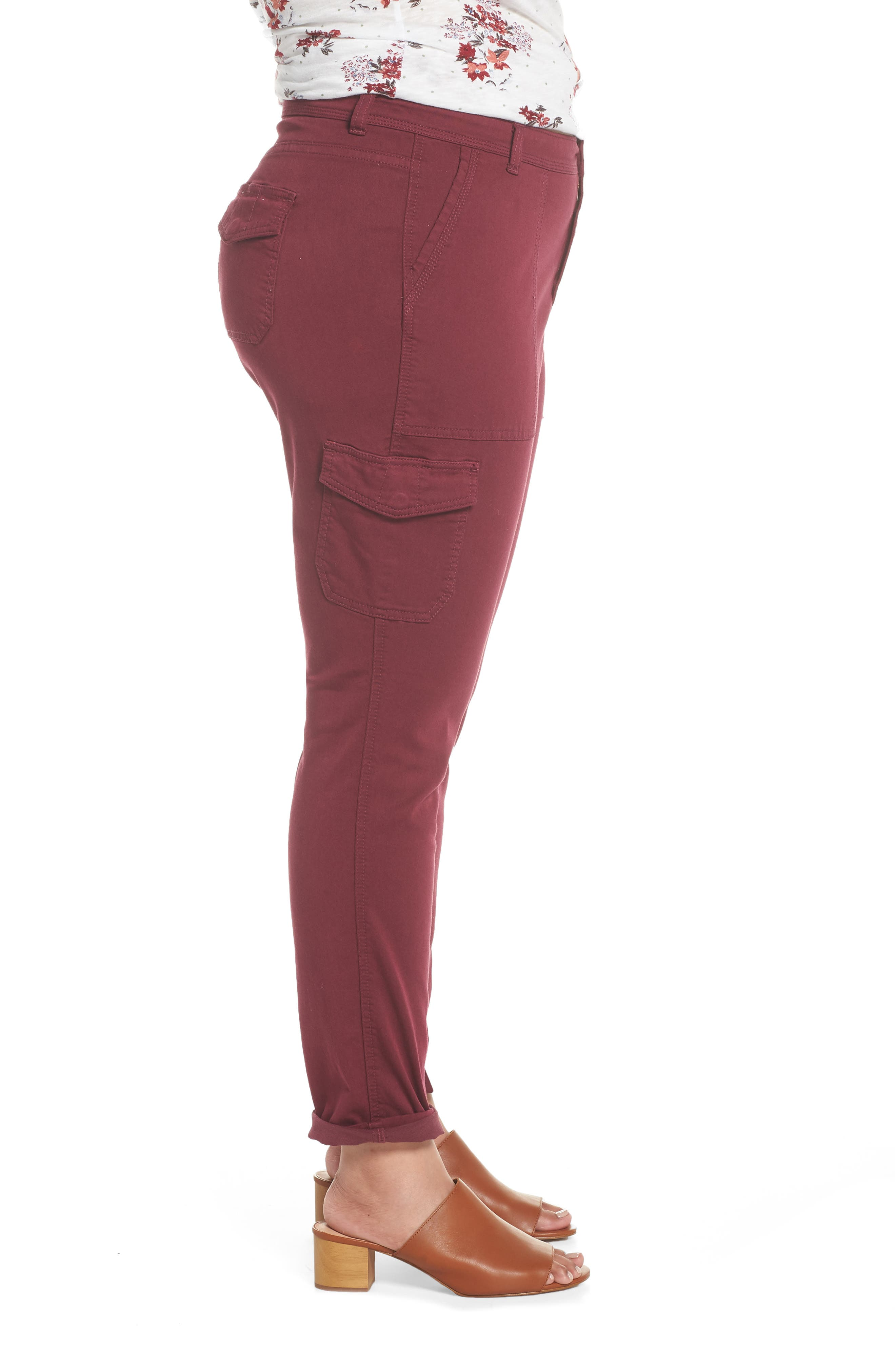 Stretch Twill Utility Pants,                             Alternate thumbnail 3, color,                             Burgundy