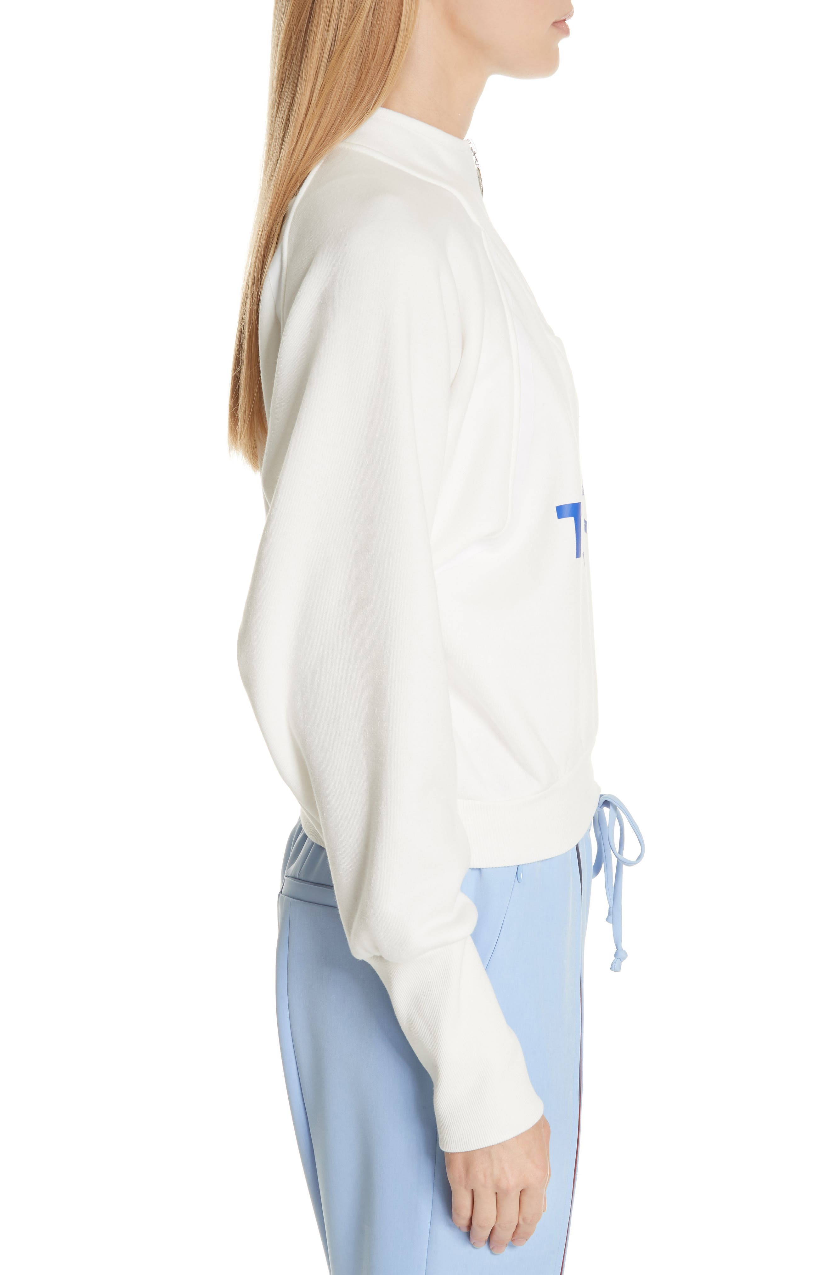 Graphic Half Zip Pullover,                             Alternate thumbnail 3, color,                             White