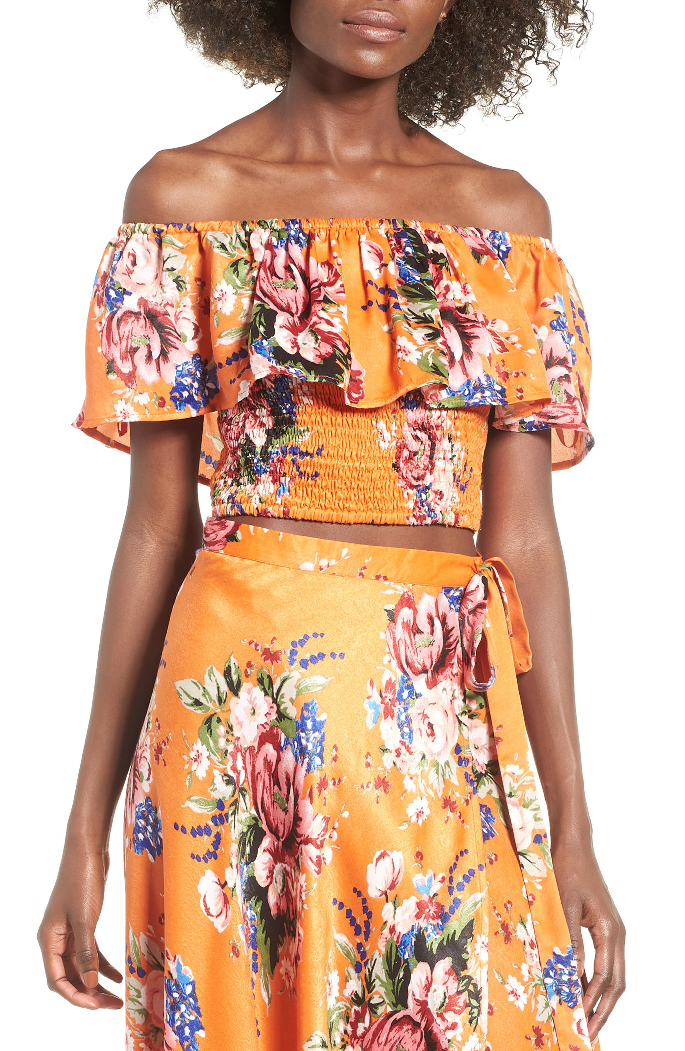 Lulu Off the Shoulder Crop Top,                             Main thumbnail 1, color,                             Orange Rose