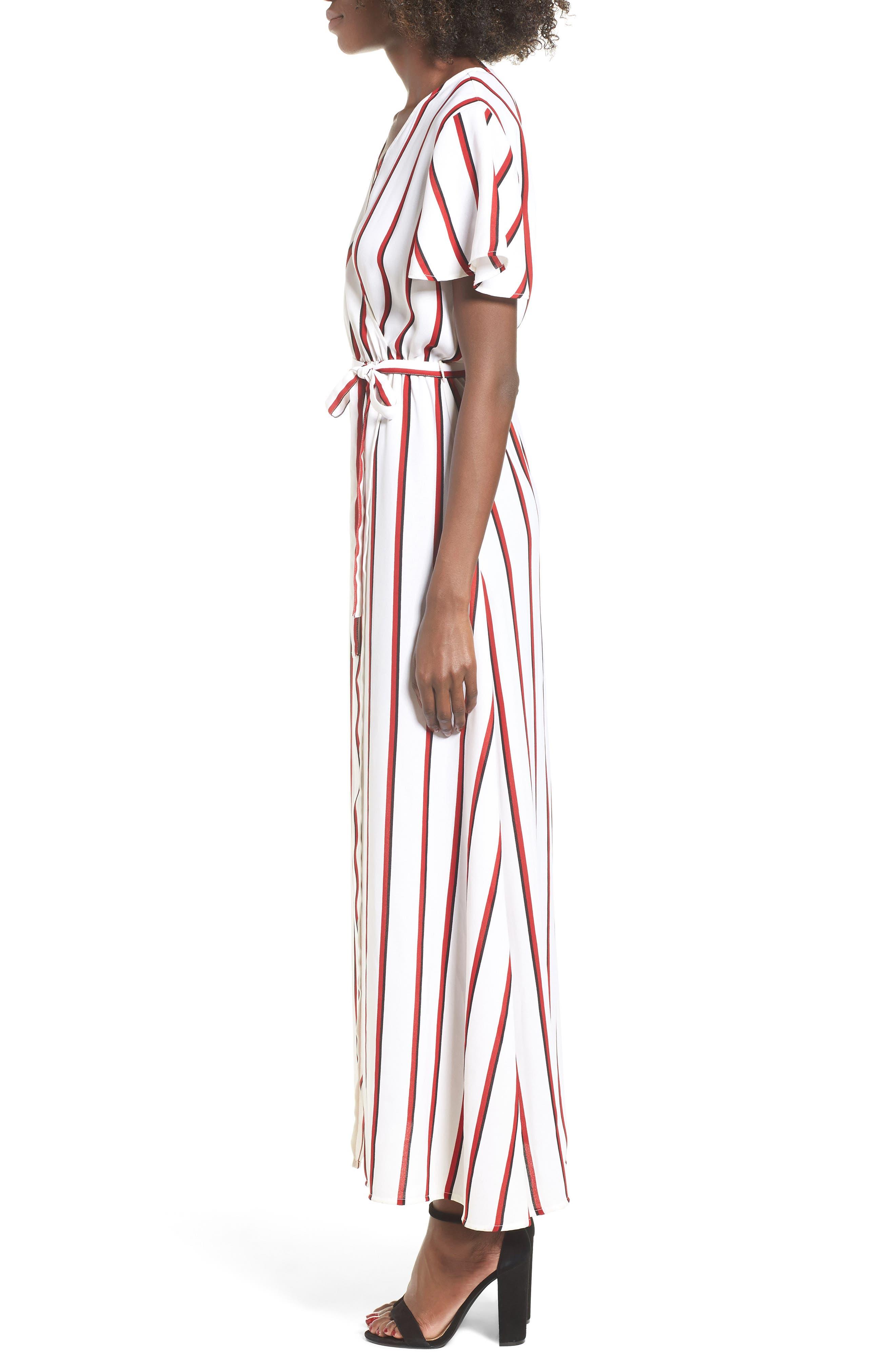 EZ Days Satin Wrap Maxi Dress,                             Alternate thumbnail 3, color,                             Chili Red
