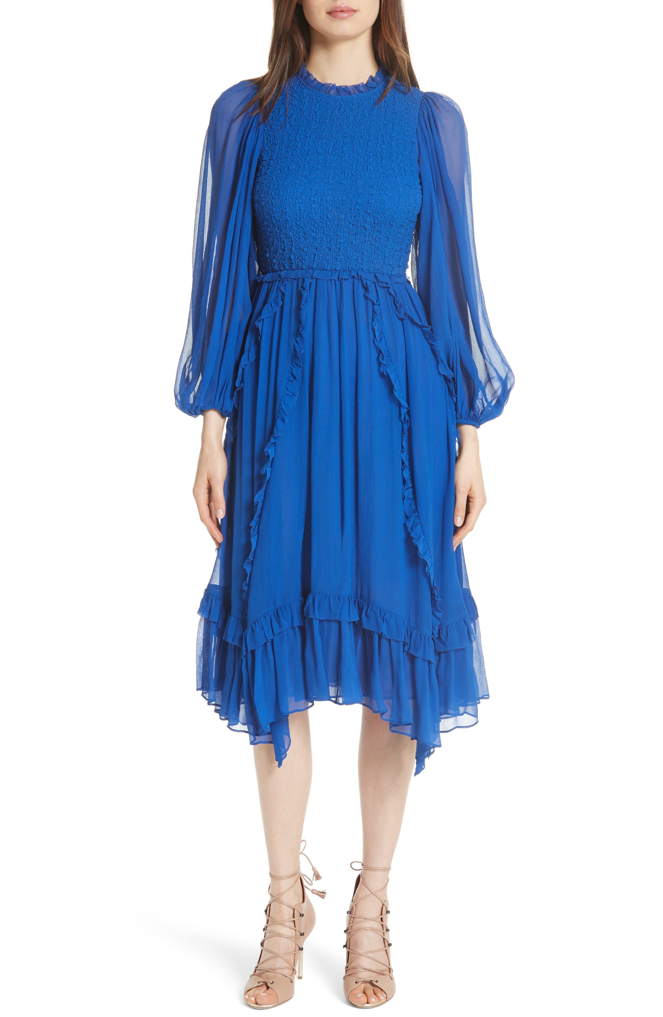 Arielle Smocked Silk Cloque Dress, Cobalt