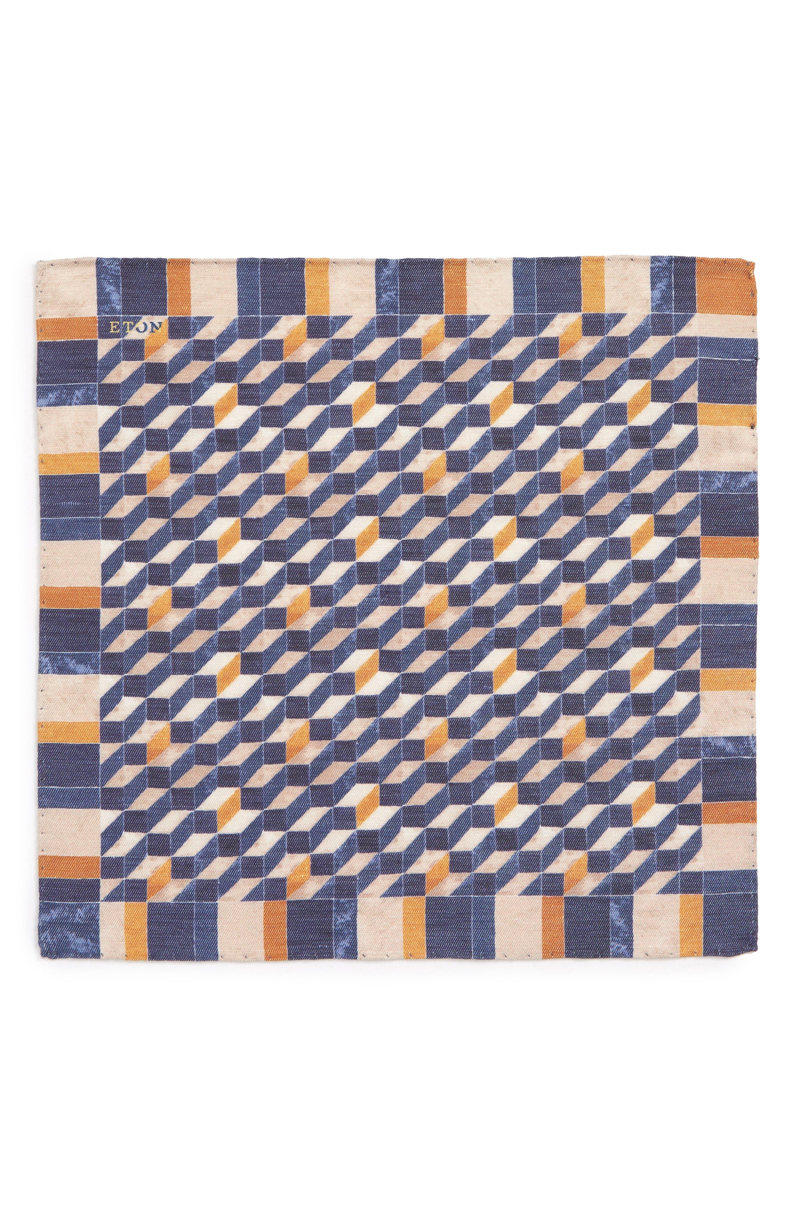 Geometric Silk Pocket Square,                             Alternate thumbnail 3, color,                             Navy