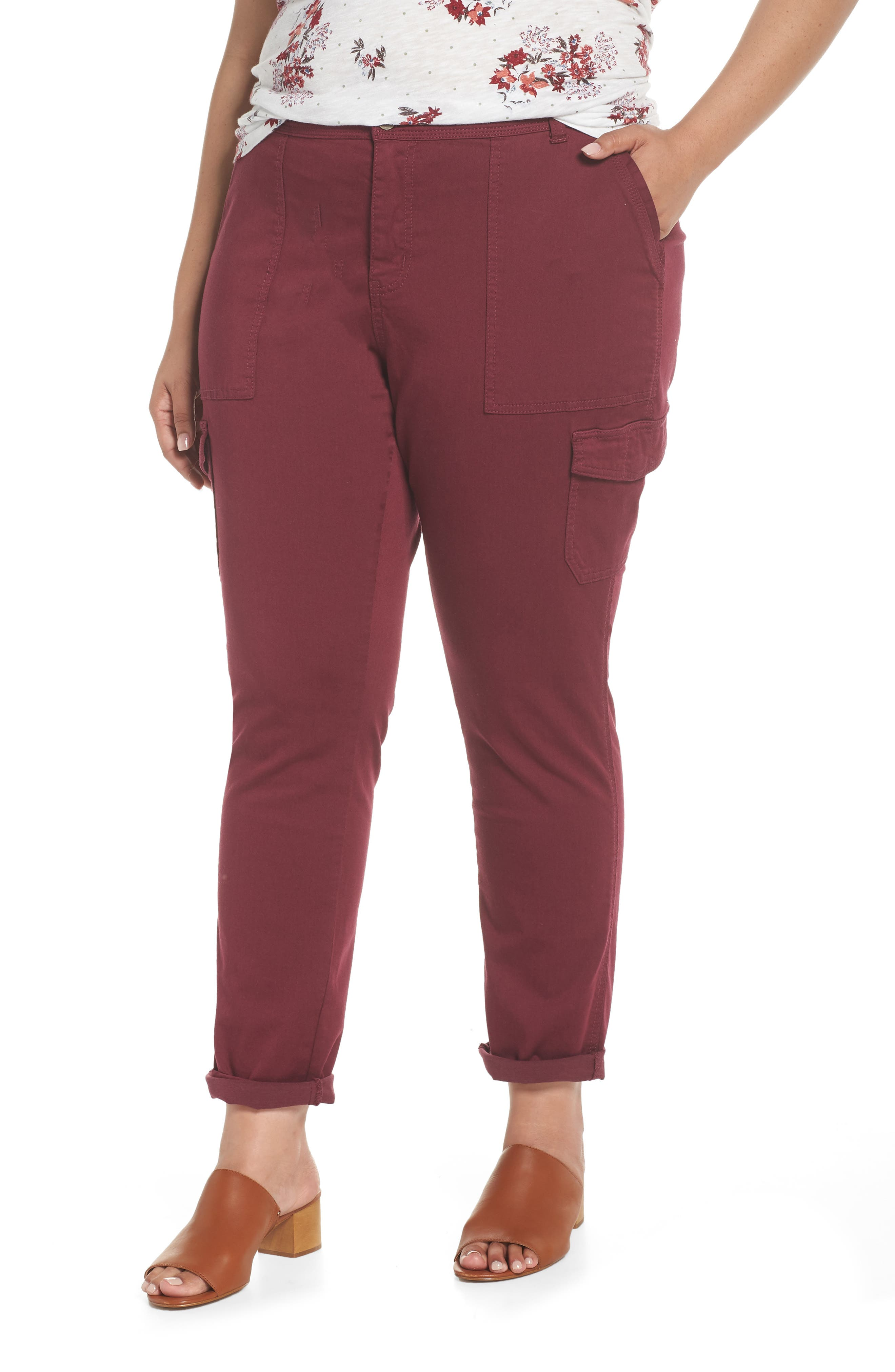 Stretch Twill Utility Pants,                         Main,                         color, Burgundy