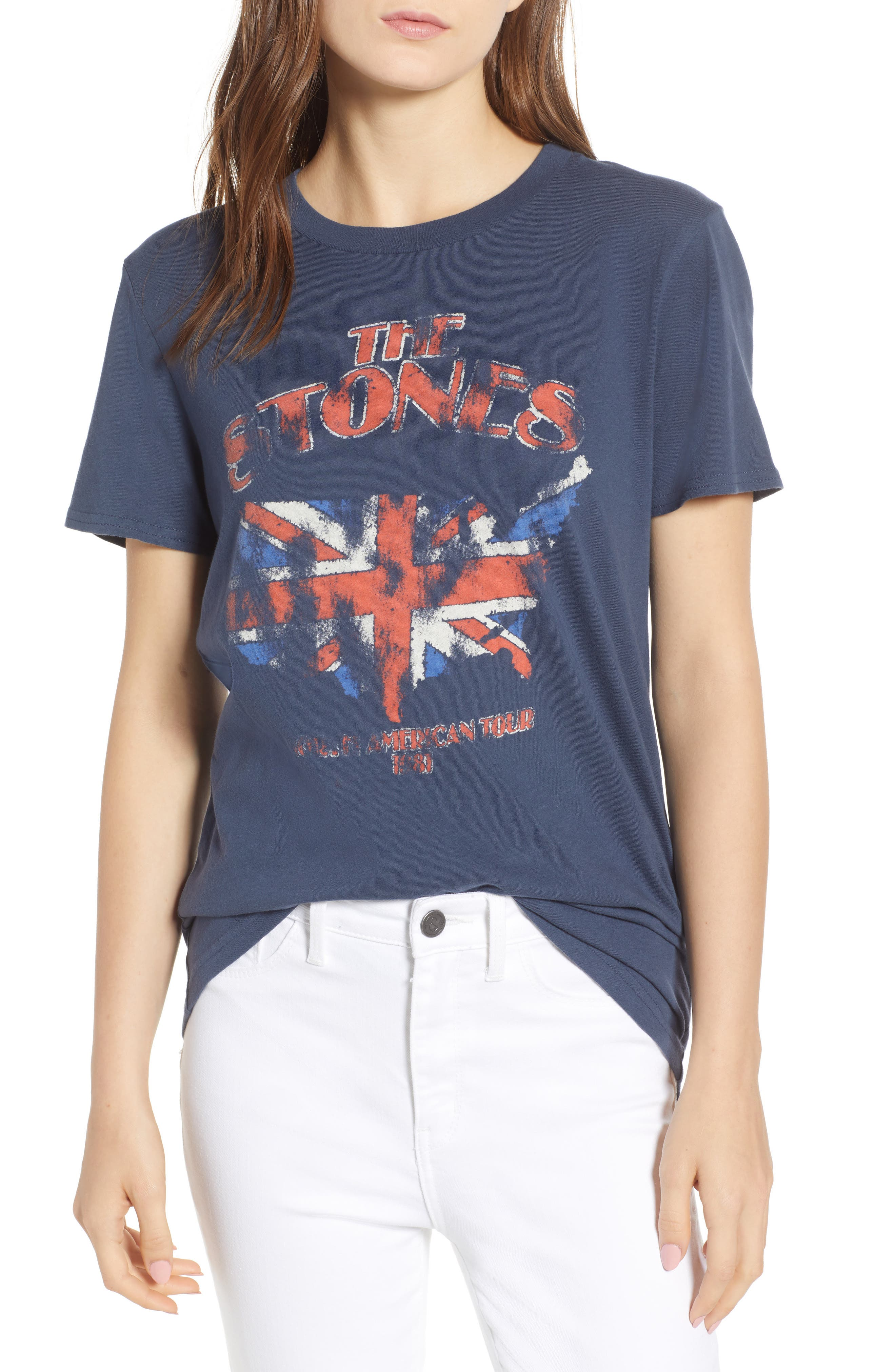 The Stones Graphic Tee,                         Main,                         color, Navy Blue Combo