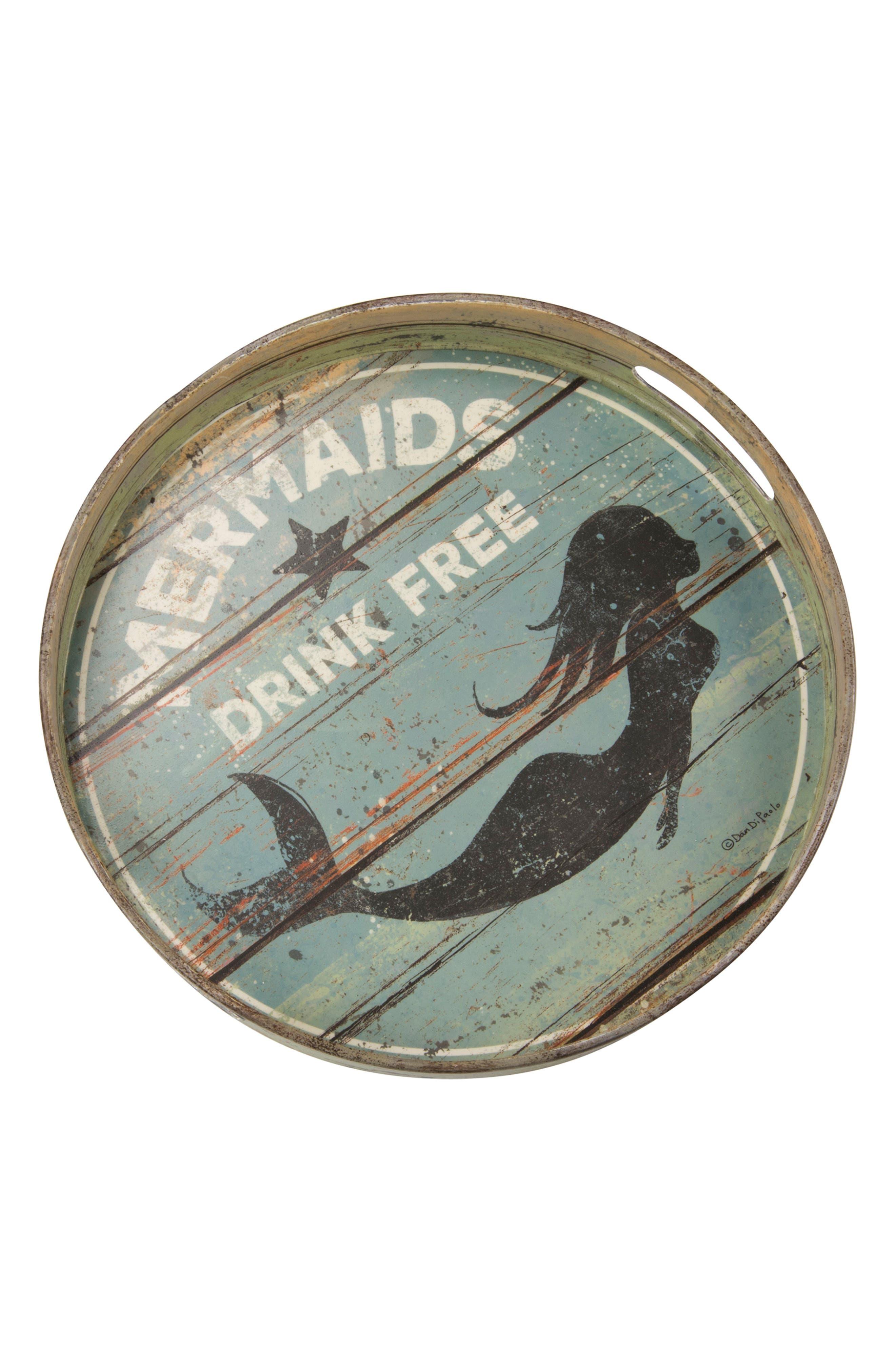 Mermaids Drink Free Tin Tray,                         Main,                         color, Blue