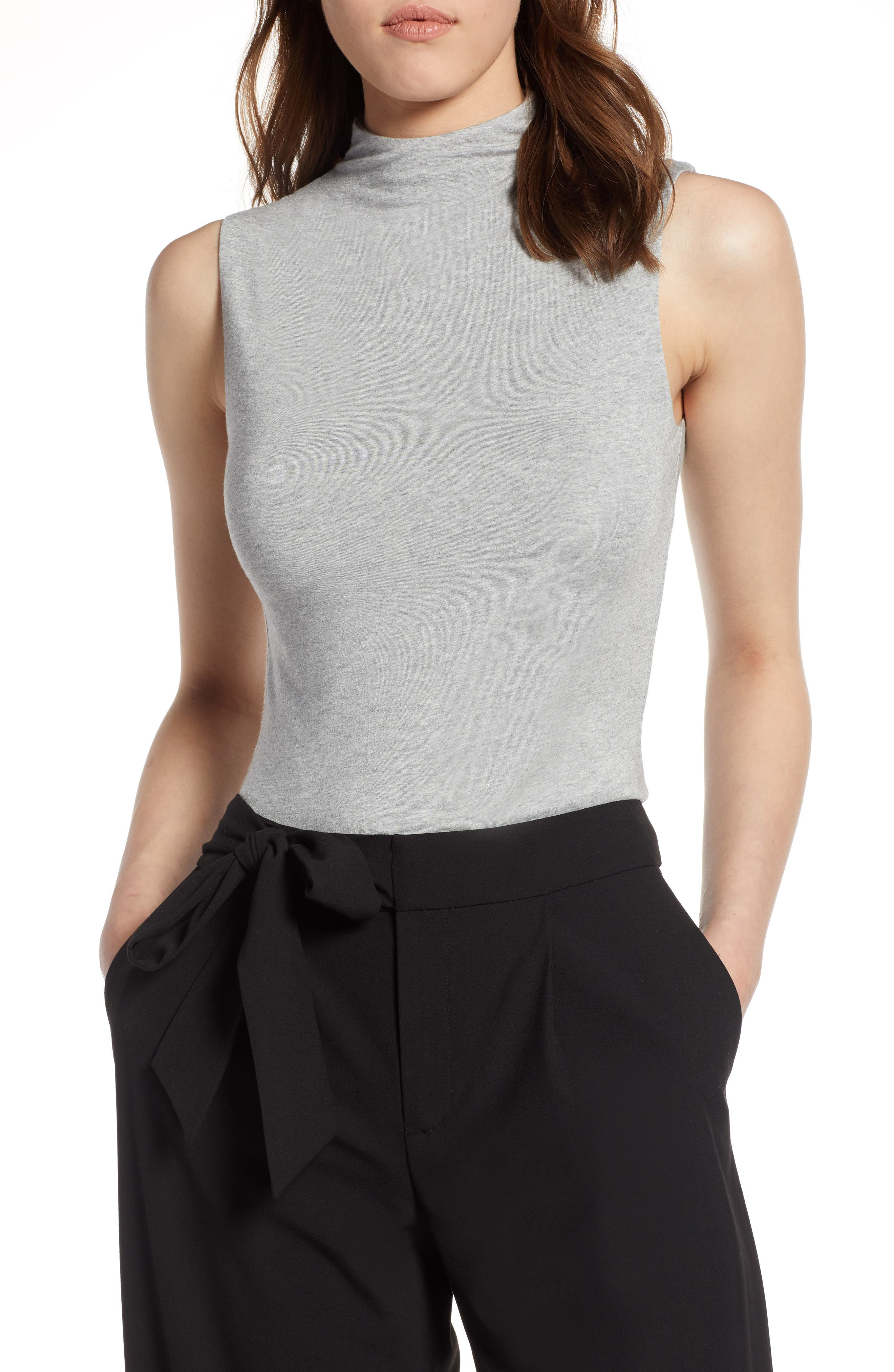 Jersey Funnel Neck Top,                         Main,                         color, Heather Grey